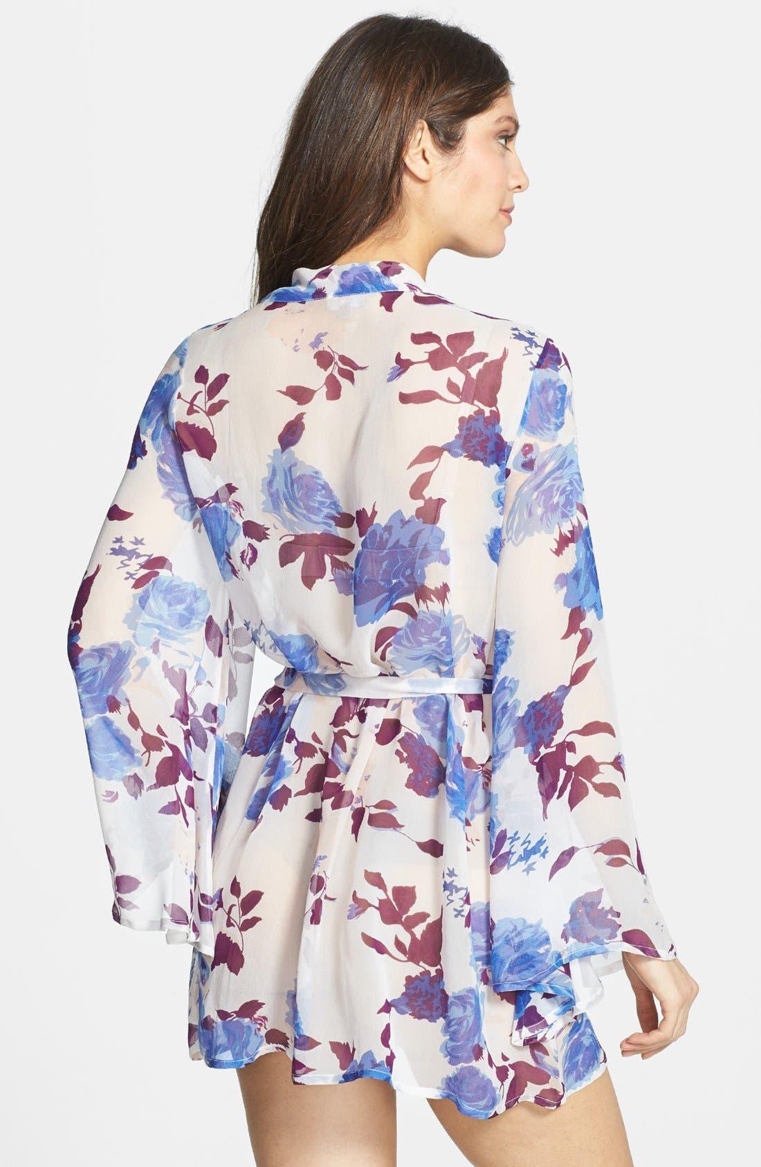 Alternate Image 2  - Beautiful Bottoms London 'Bold Botanics' Silk Short Robe