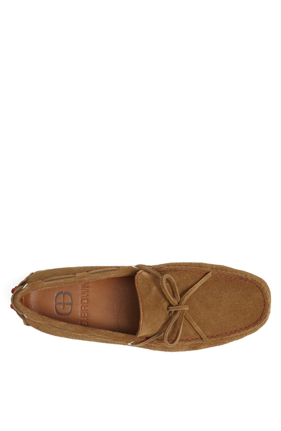 'Capri' Suede Driving Shoe,                             Alternate thumbnail 3, color,                             Tobacco