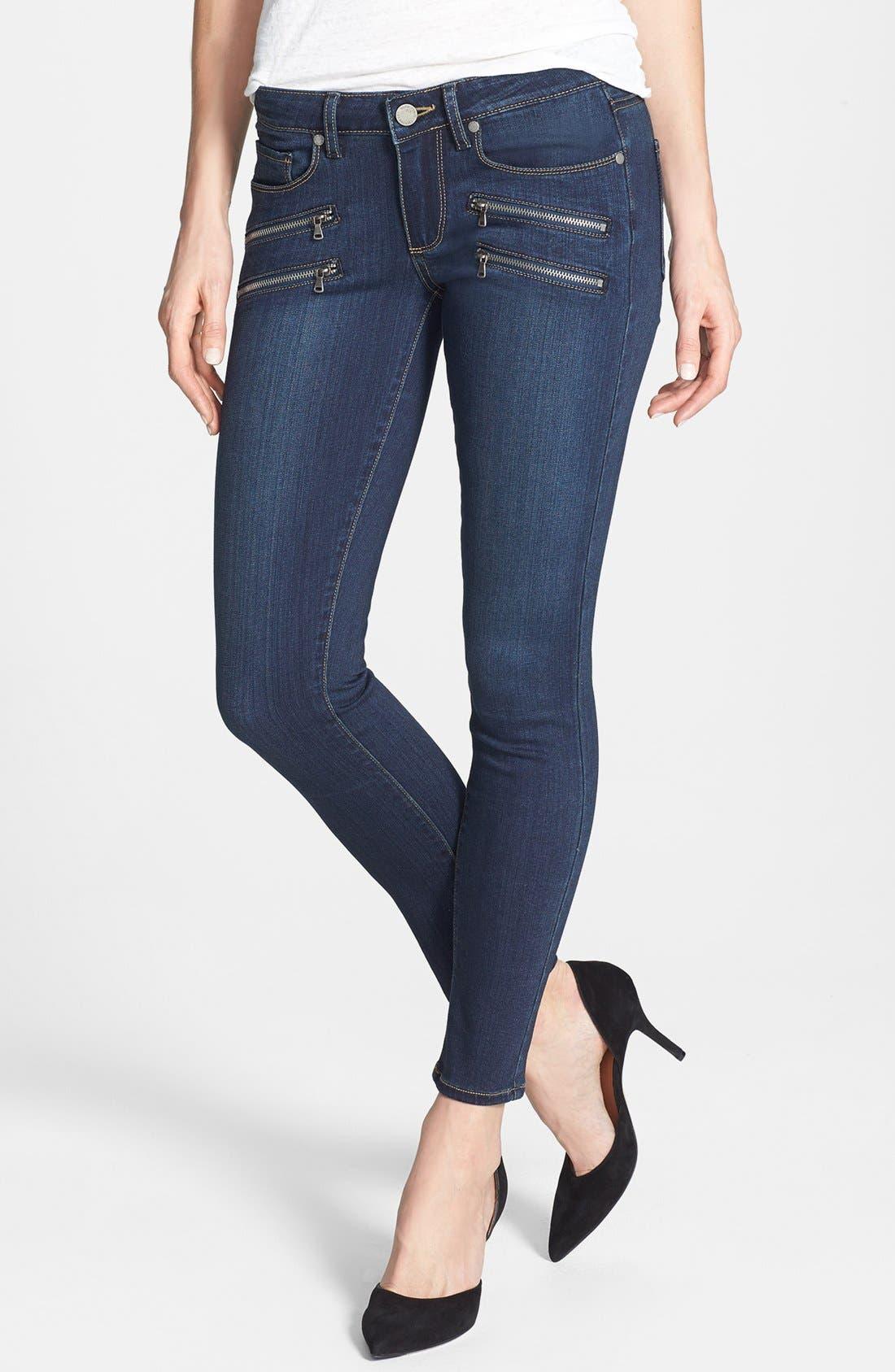 Main Image - PAIGE Transcend - Edgemont Zip Detail Ultra Skinny Jeans (Nottingham No Whiskers)