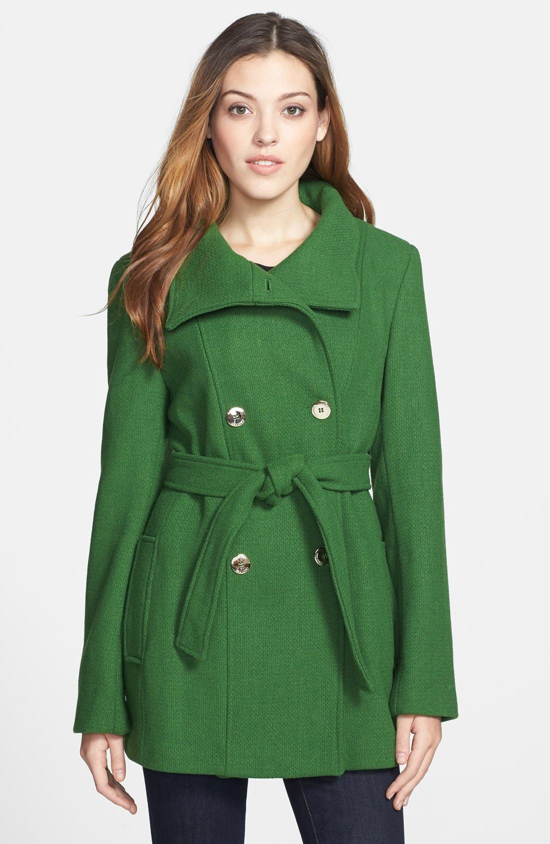 Alternate Image 1 Selected - Calvin Klein Double Breasted Wool Blend Coat (Online Only)