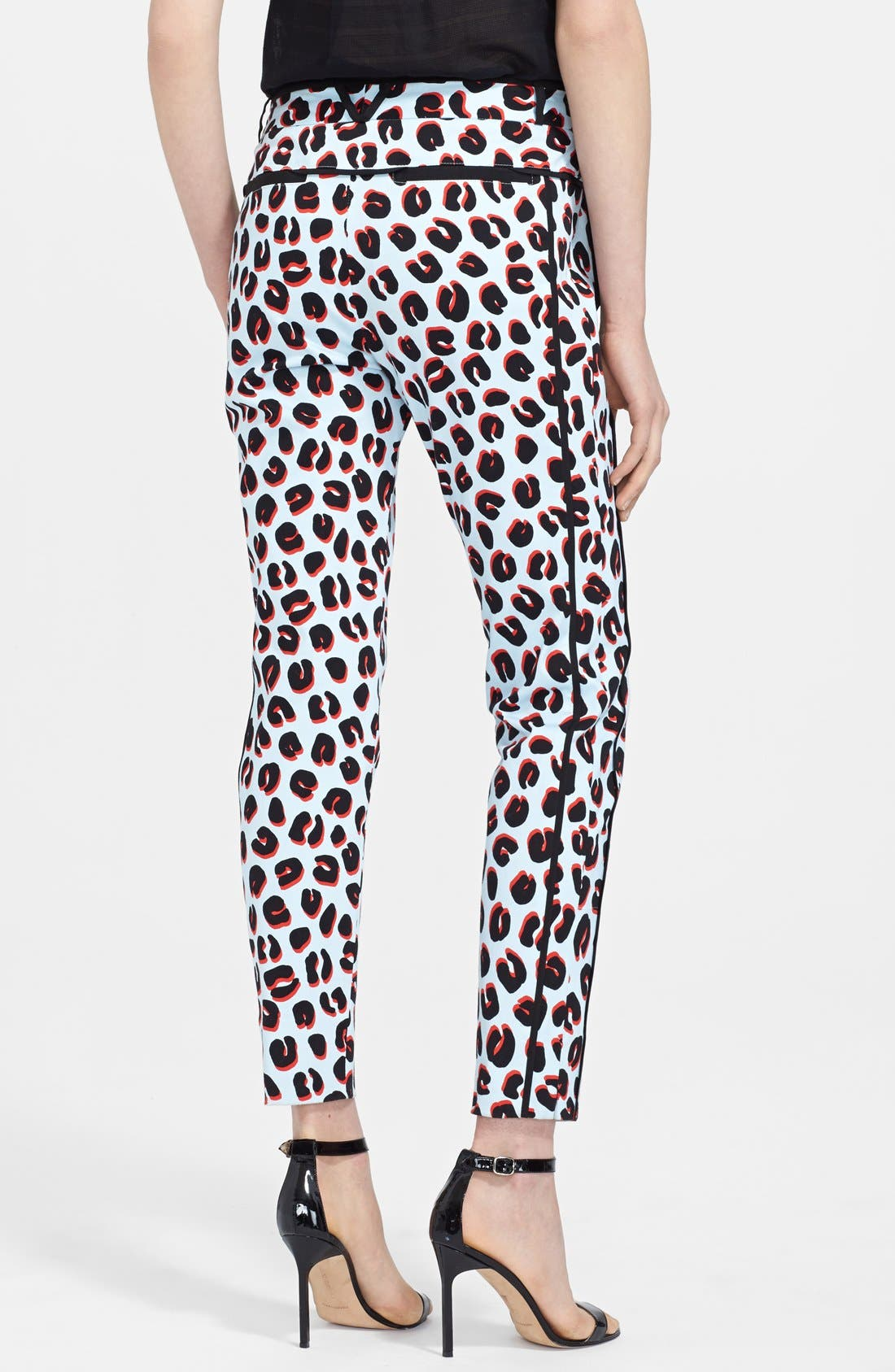 Alternate Image 2  - Veronica Beard Print Cotton Sateen Tuxedo Pants