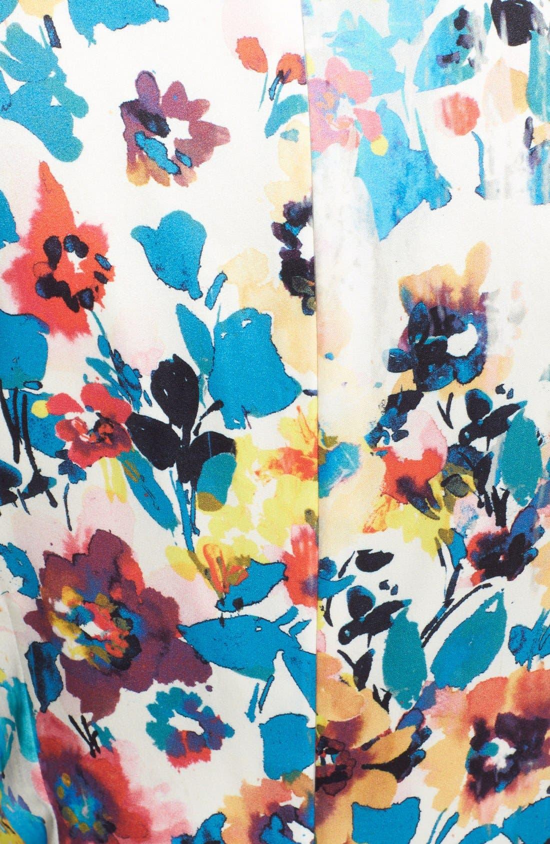 Alternate Image 3  - St. John Collection Pansy Print Stretch Silk Charmeuse Dress