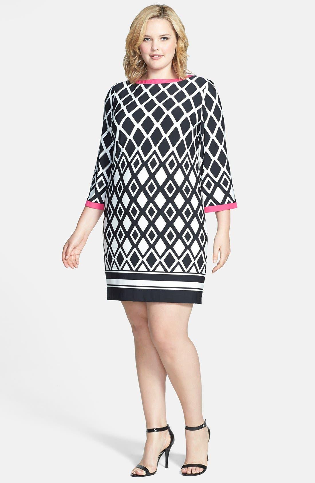 Alternate Image 1 Selected - Eliza J Print Jersey Shirtdress (Plus Size)