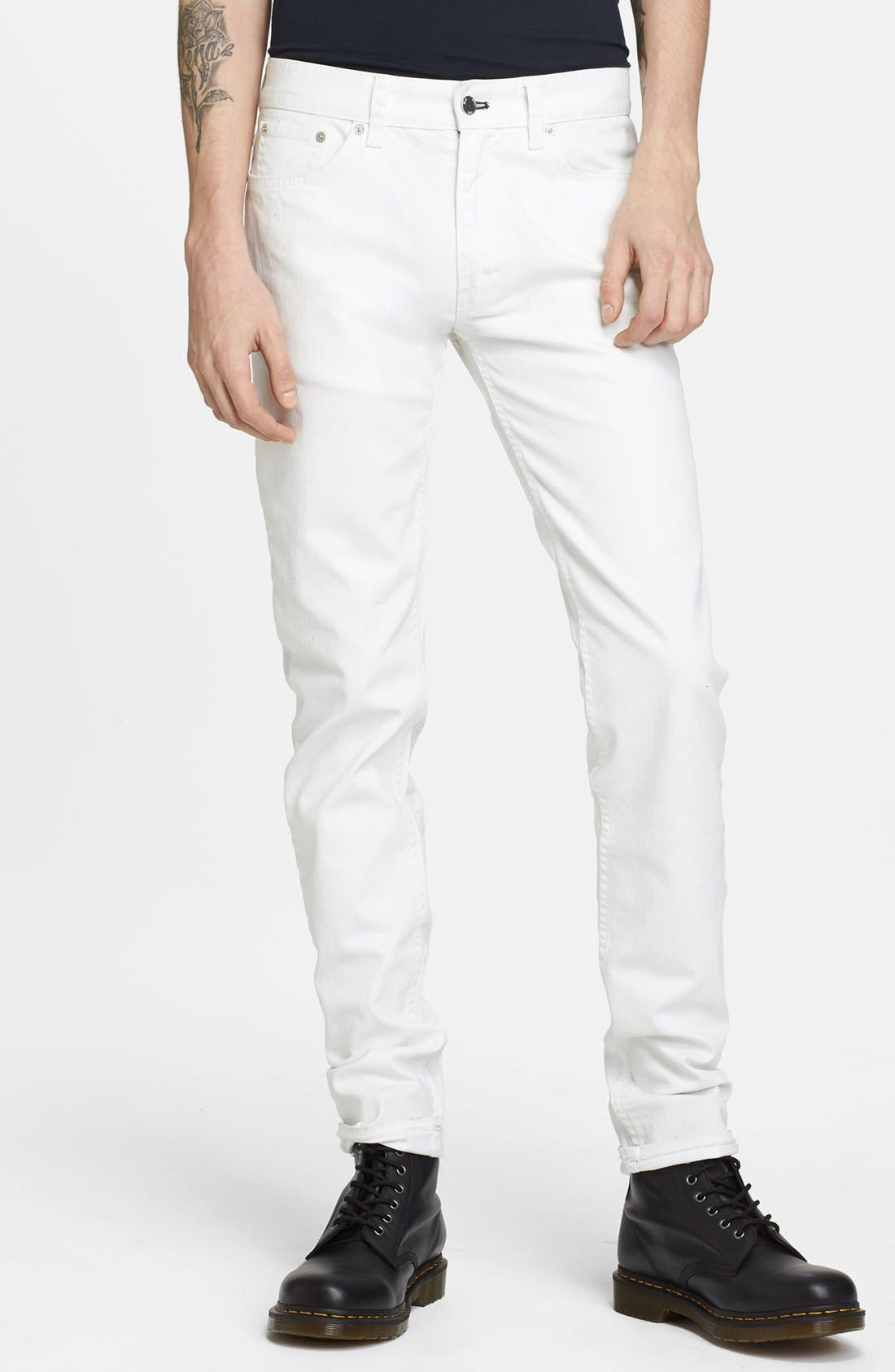 Alternate Image 1 Selected - BLK DNM 'Jeans 5' Slim Straight Leg Coated Denim Jeans (Natural White)