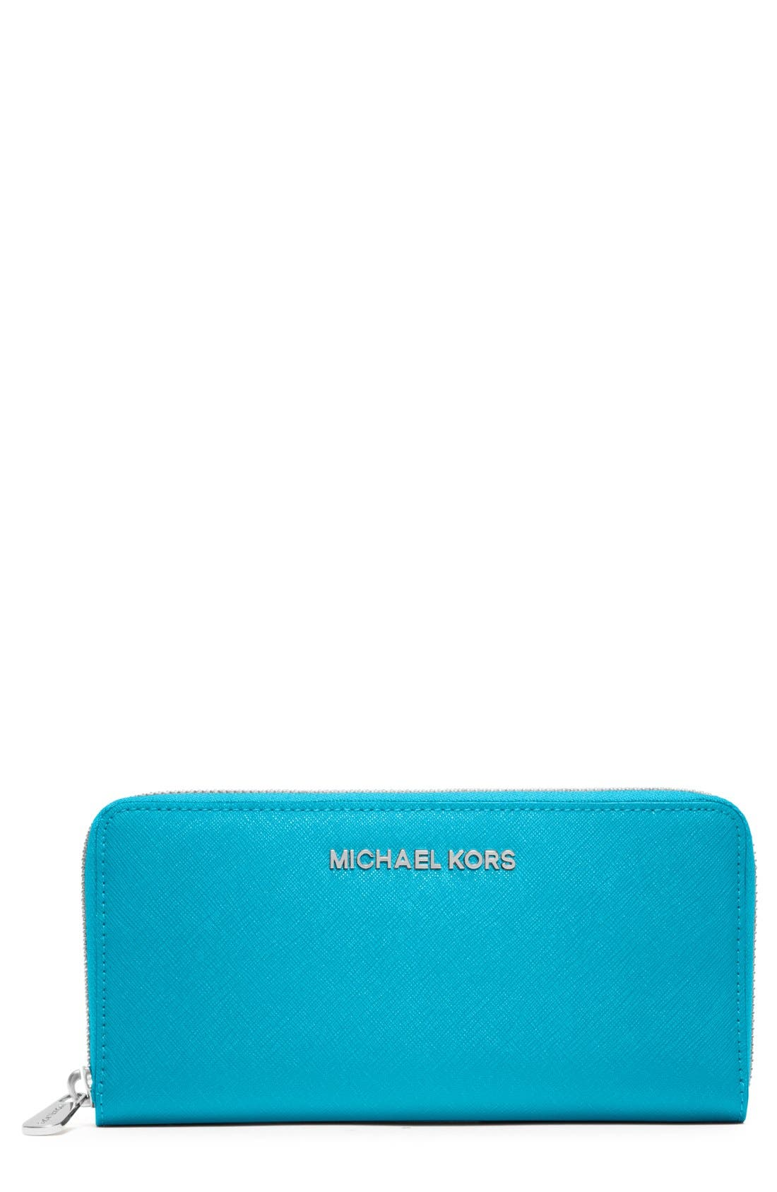 Alternate Image 1 Selected - MICHAEL Michael Kors 'Jet Set' Zip Around Continental Wallet