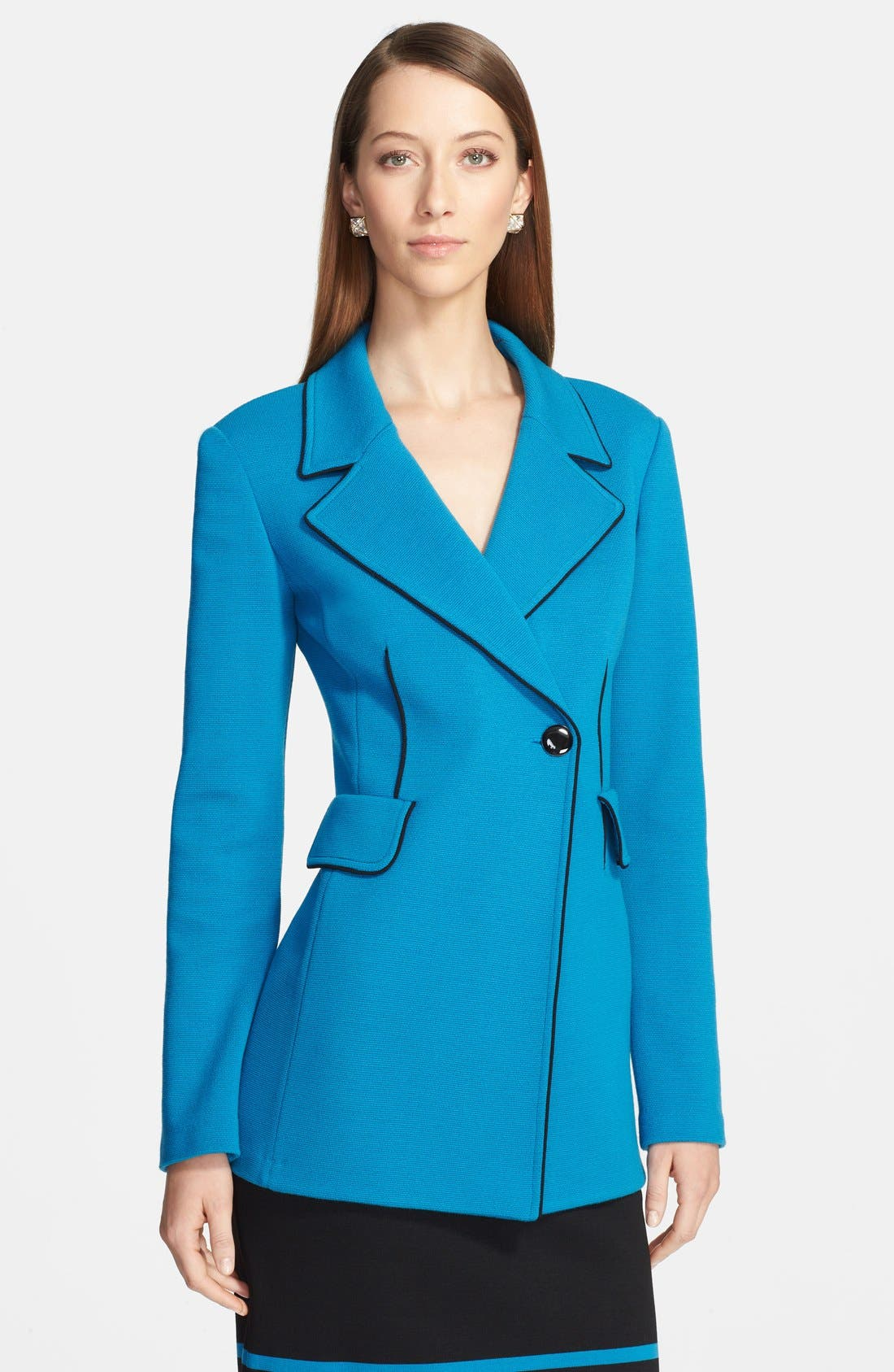 Main Image - St. John Collection Double Milano Knit Blazer with Silk Piping