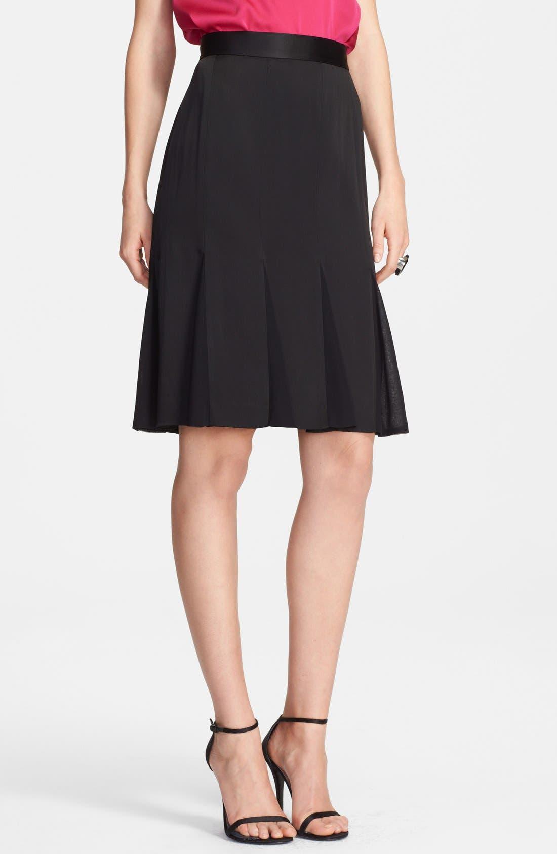 Main Image - St. John Collection Liquid Crepe & Chiffon Skirt