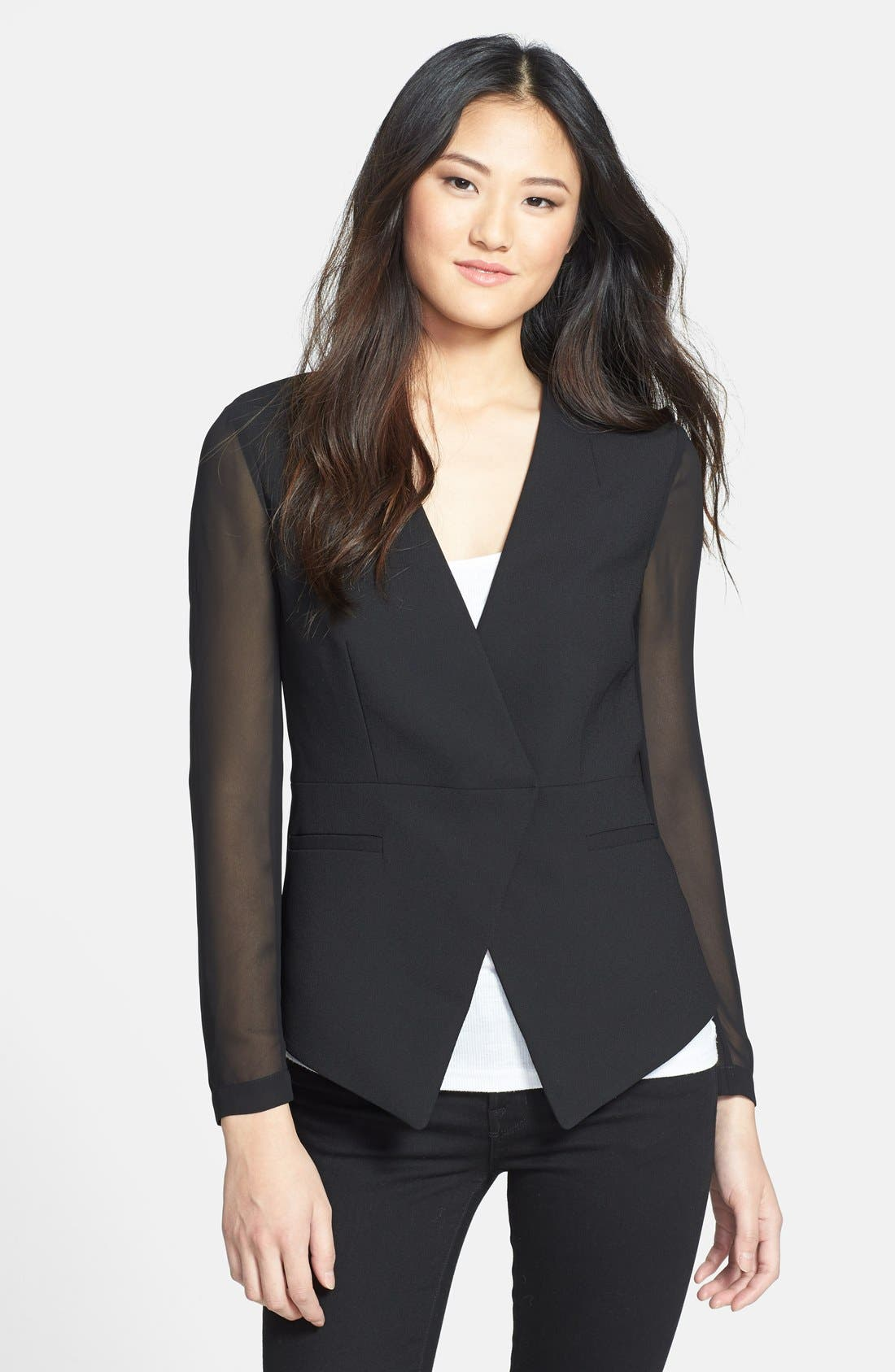 Angled Front Jacket,                         Main,                         color, Rich Black