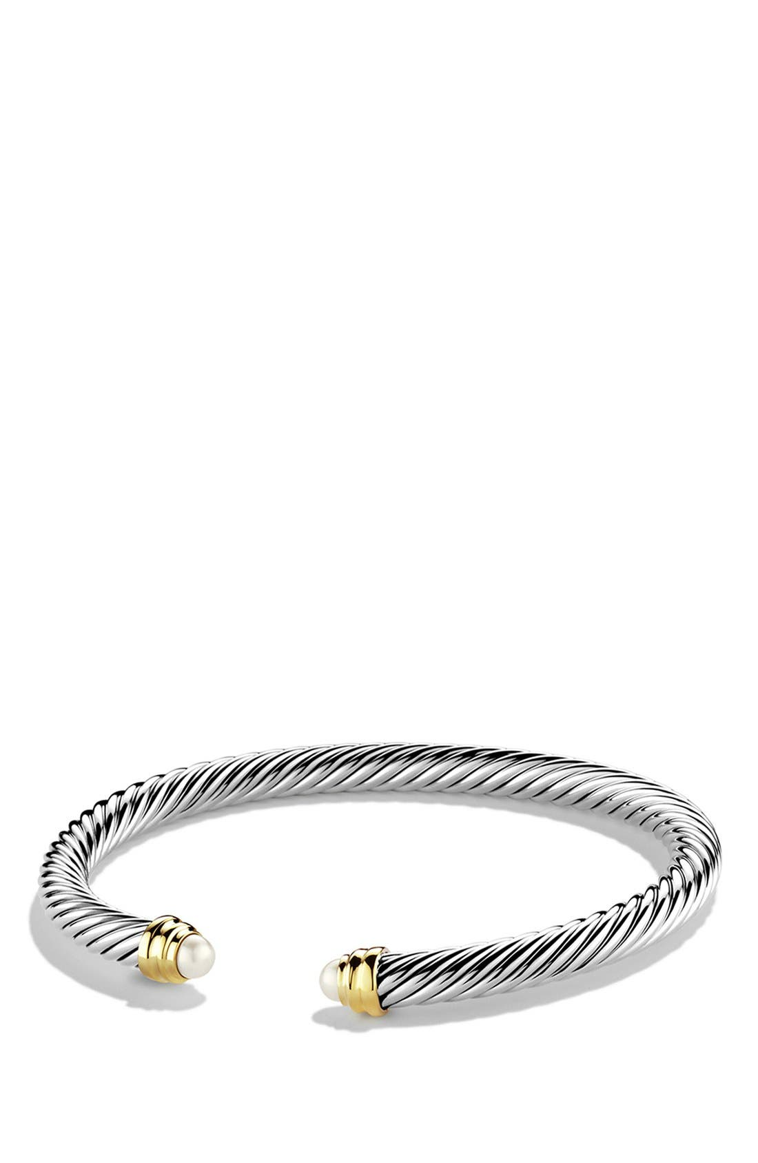 Cable Classics Bracelet with Semiprecious Stones & 14K Gold, 5mm,                             Main thumbnail 1, color,                             Pearl