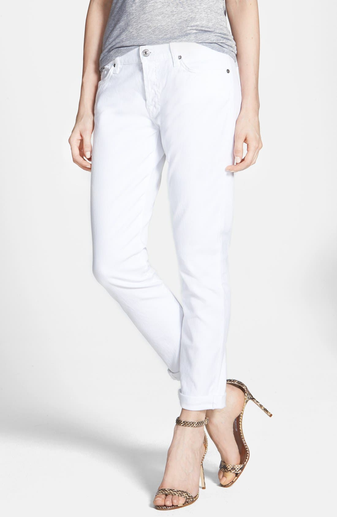 Alternate Image 1 Selected - 7 For All Mankind® 'Joesphina' Straight Leg Jeans (Clean White)