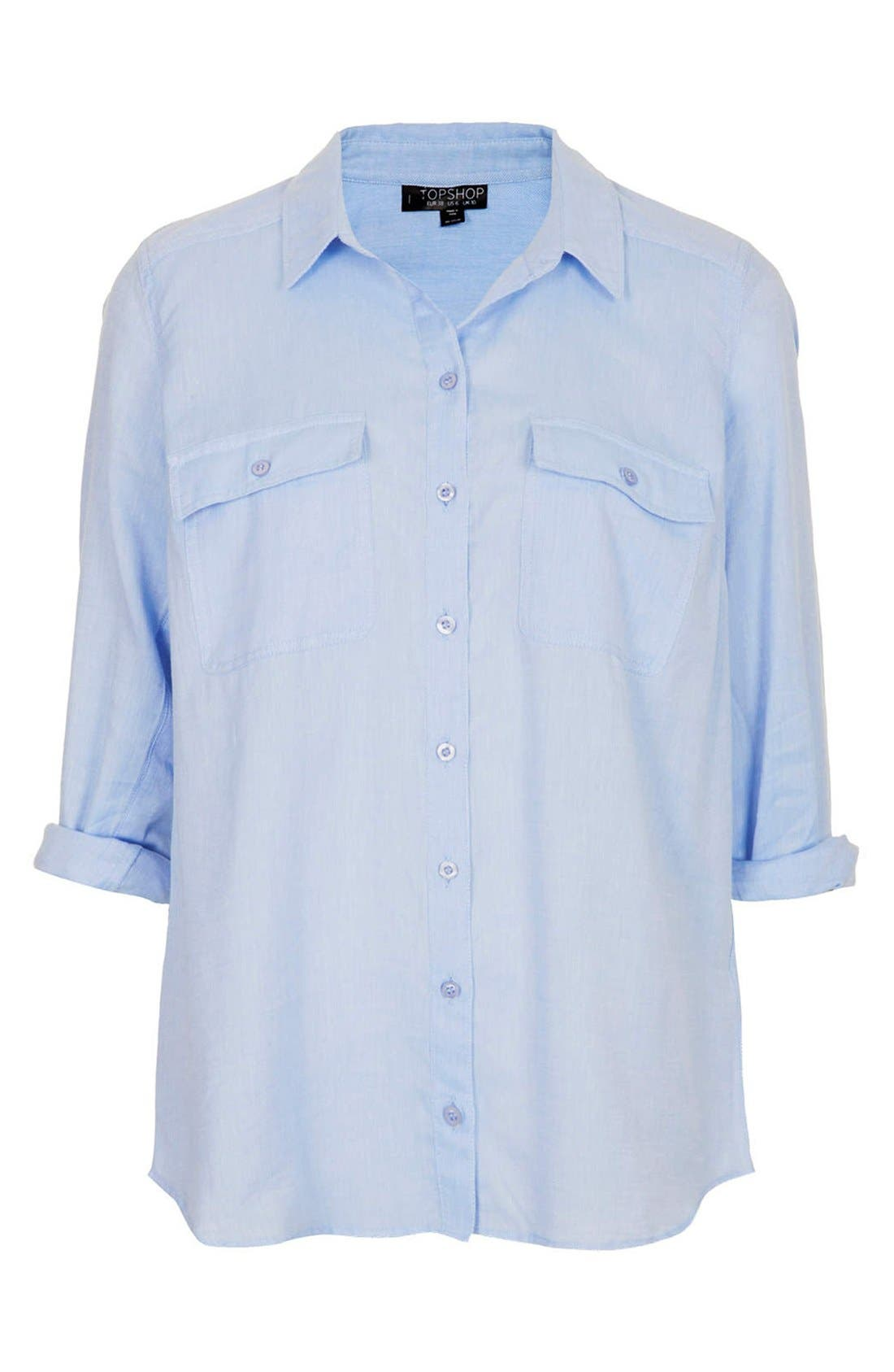 Alternate Image 2  - Topshop Chambray Utility Shirt