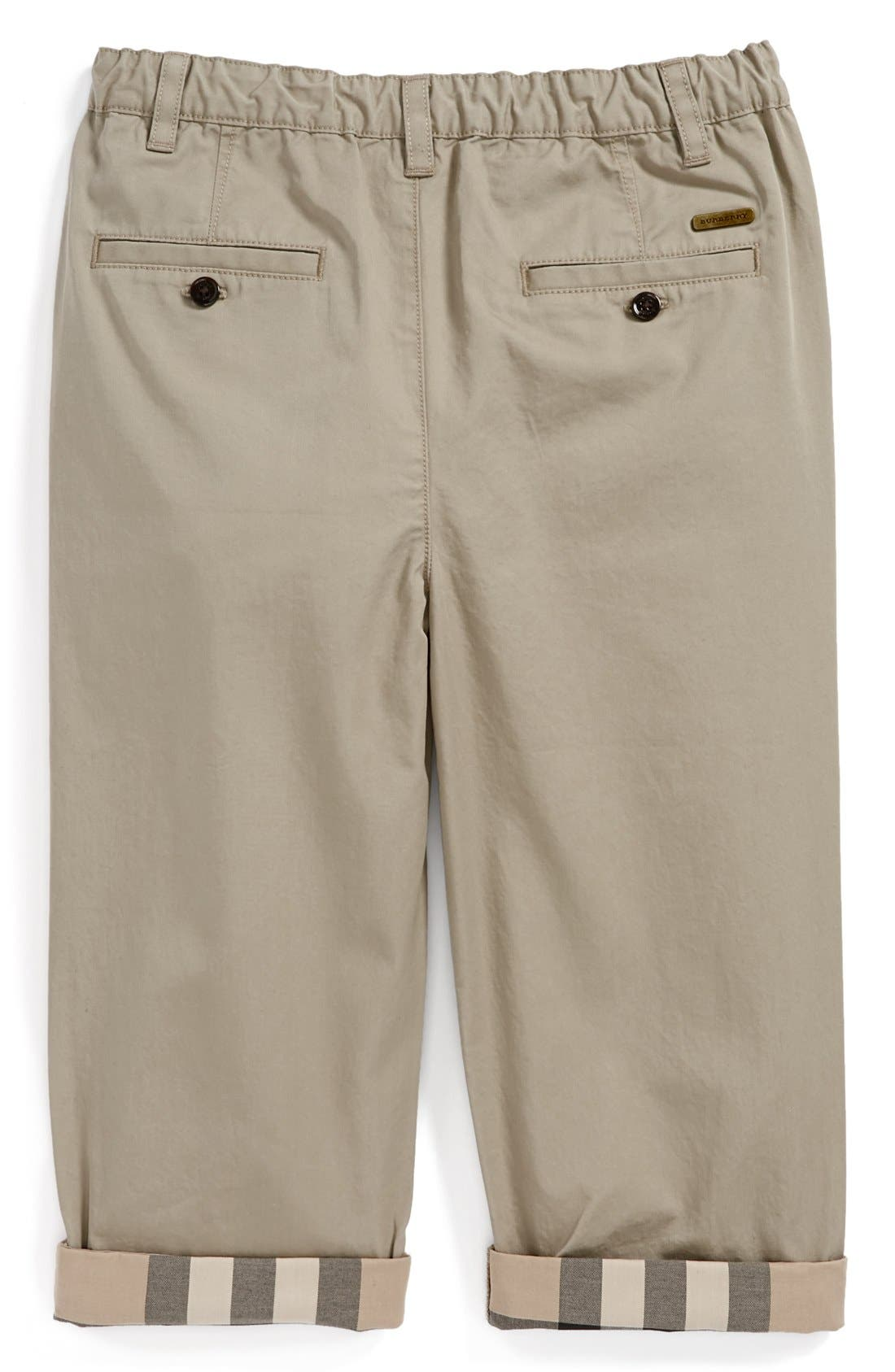 'Ricky' Check Lined Roll Cuff Pants,                             Alternate thumbnail 2, color,                             Taupe