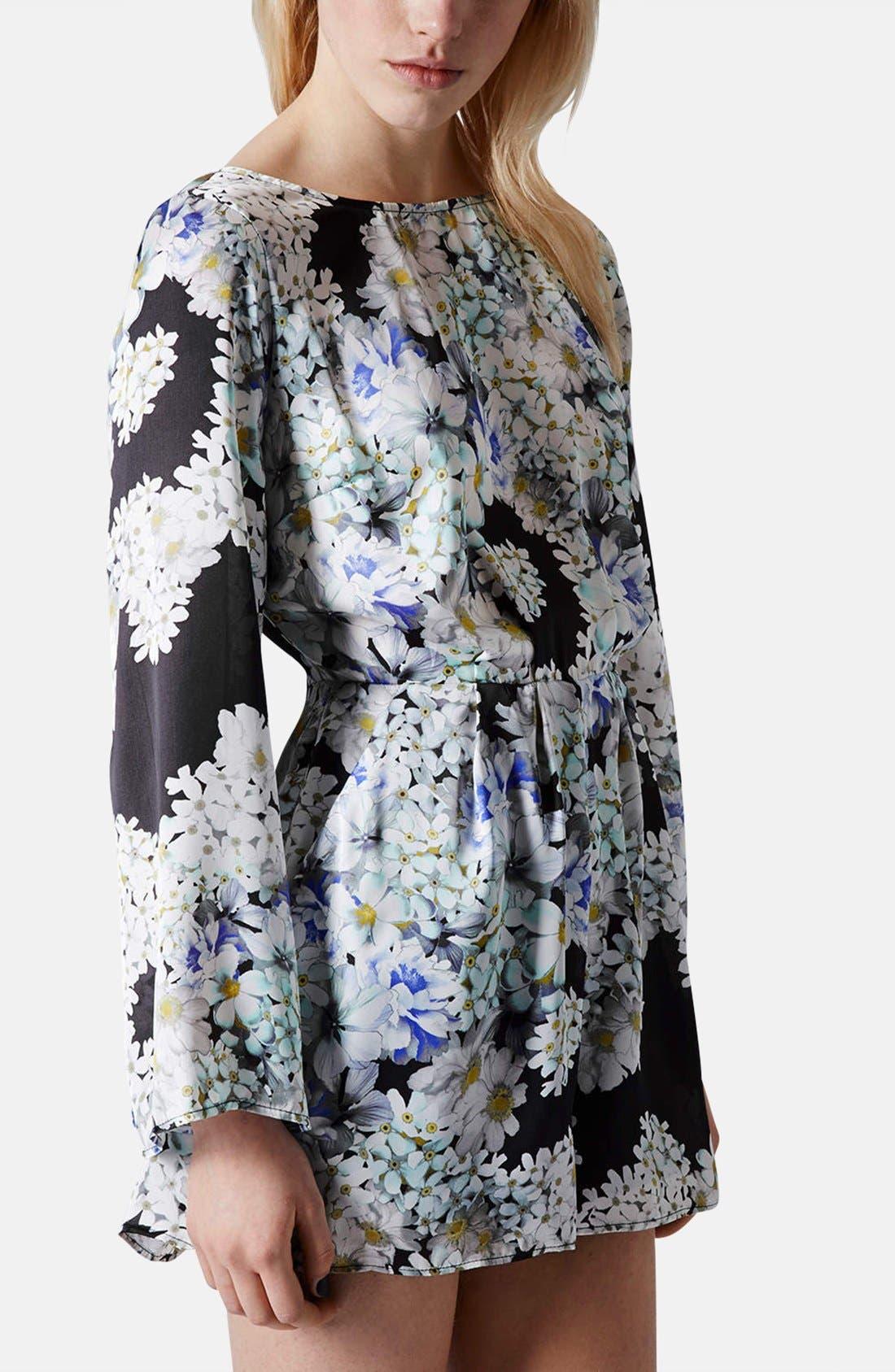 Alternate Image 1 Selected - Topshop Floral V-Back Romper