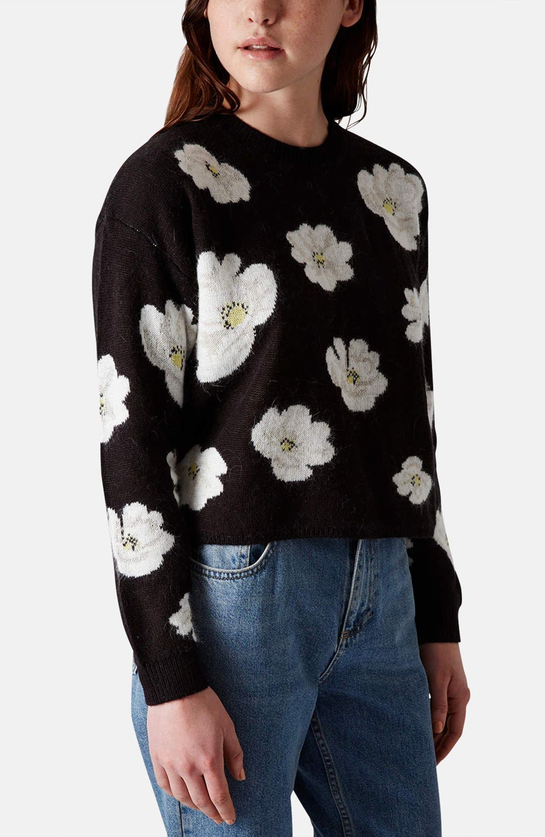 Alternate Image 1 Selected - Topshop Daisy Jacquard Sweater
