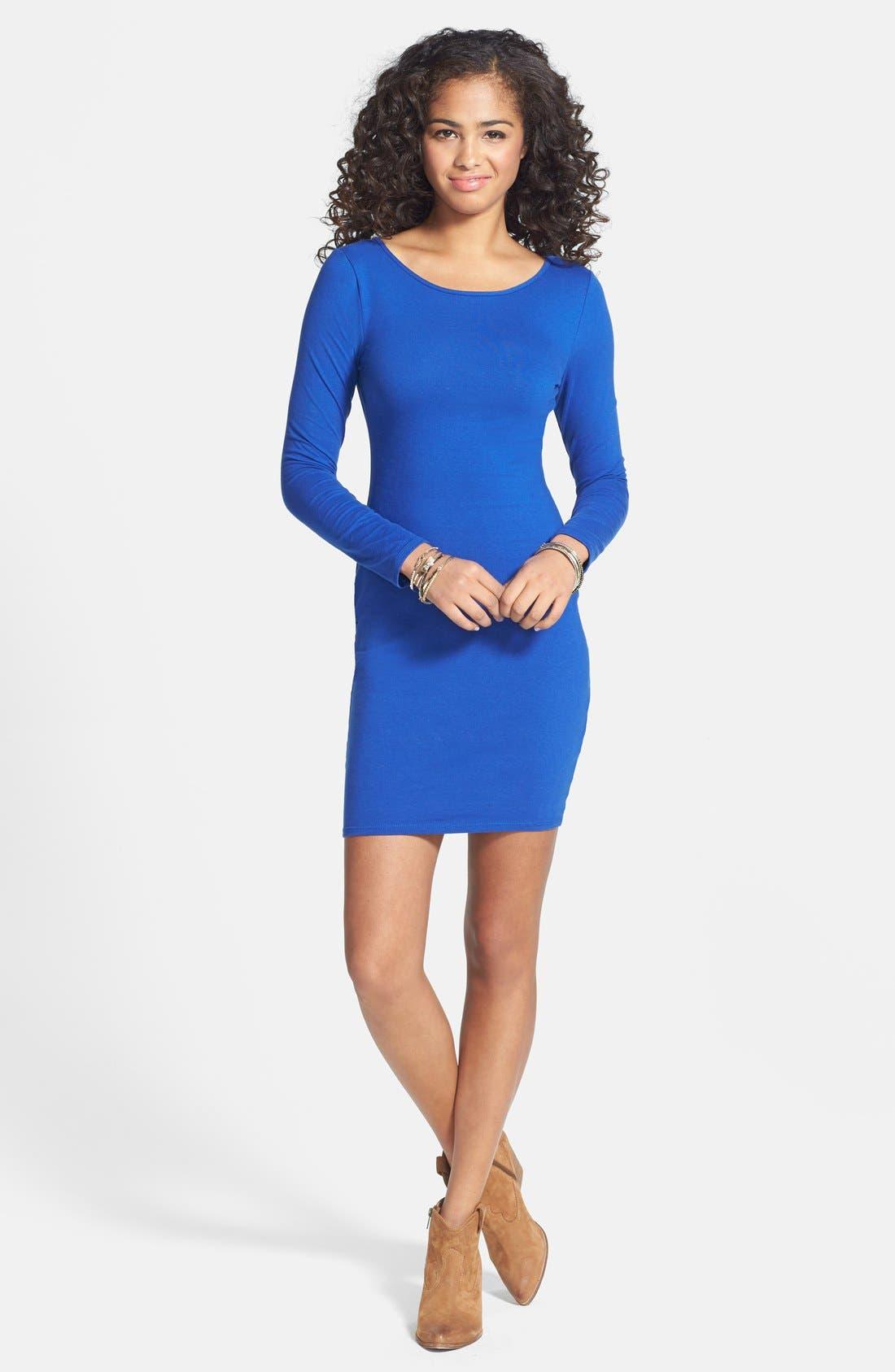 Main Image - Socialite Long Sleeve Body-Con Dress (Juniors)