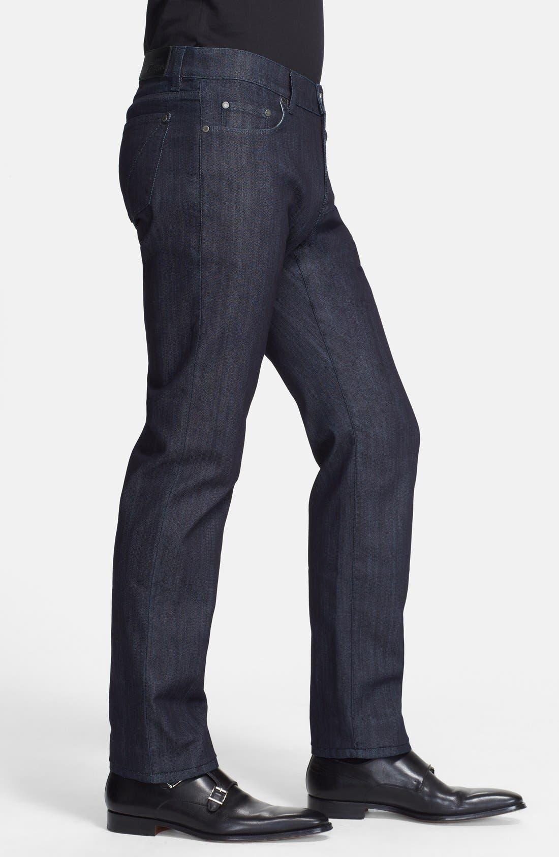 Alternate Image 3  - Z Zegna Slim Straight Leg Jeans (Navy Solid)