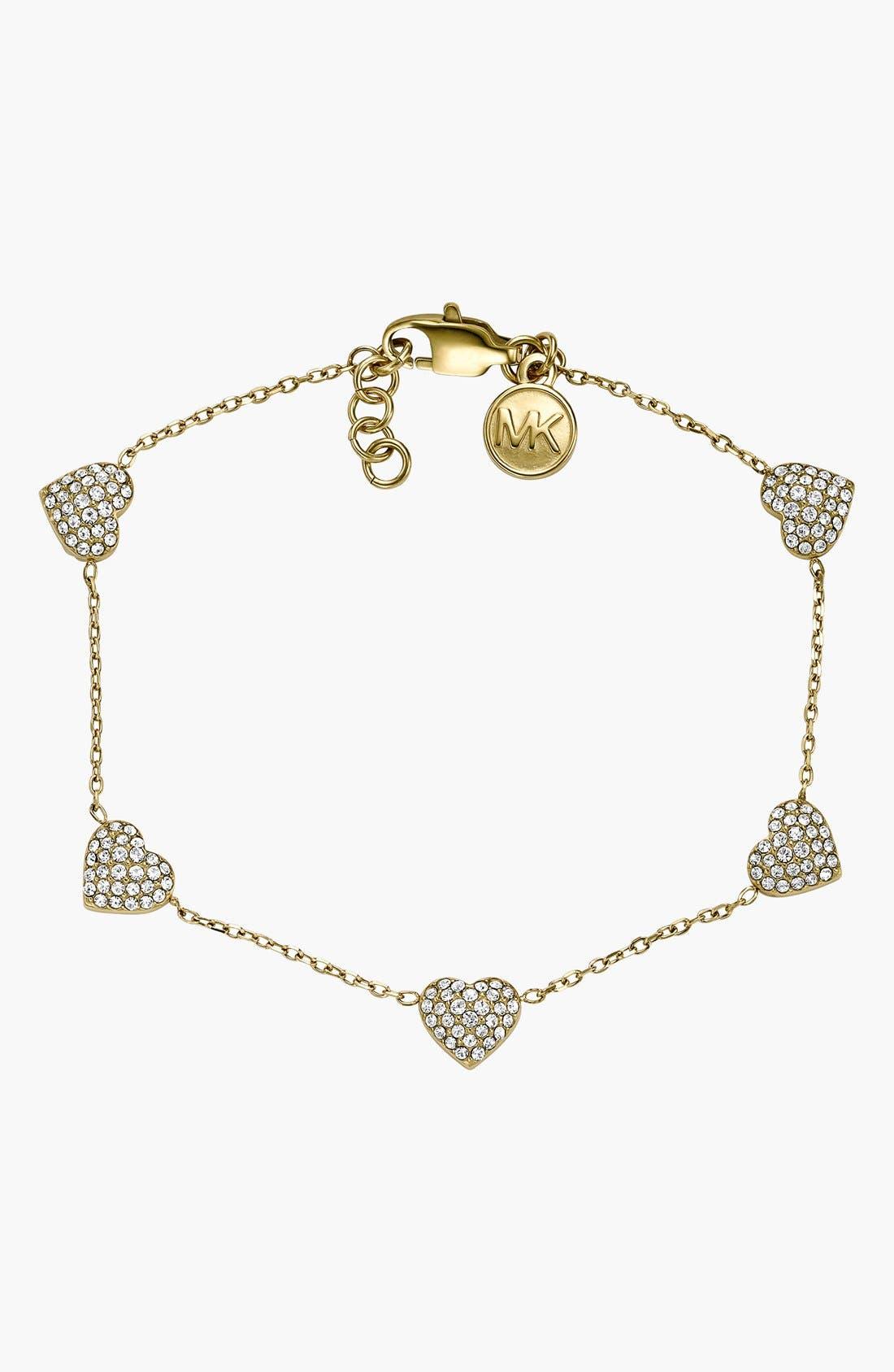 Alternate Image 1 Selected - Michael Kors 'Motif Brilliance' Pavé Heart Station Bracelet