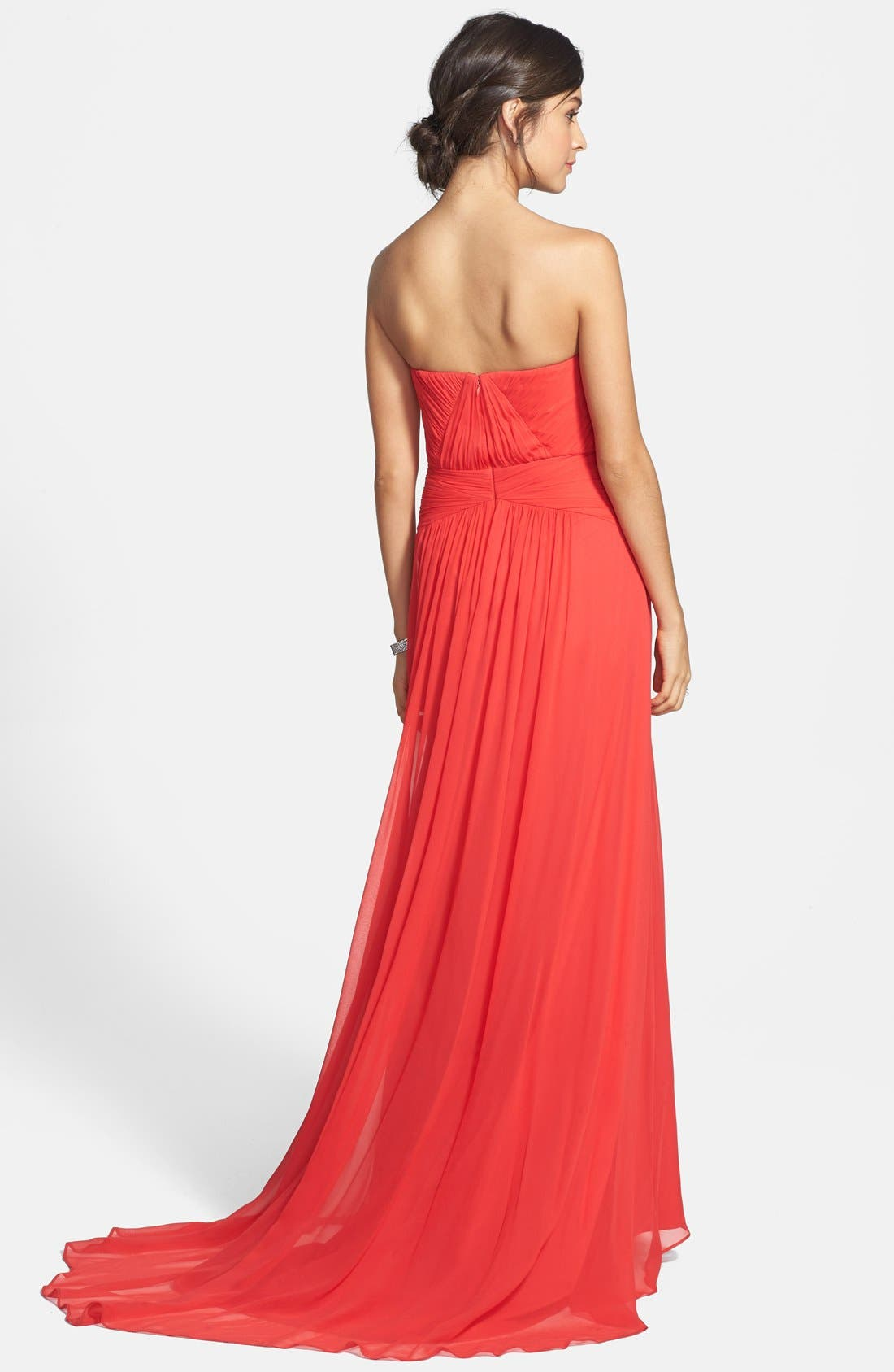 Strapless Chiffon Gown,                             Alternate thumbnail 2, color,                             Tangerine