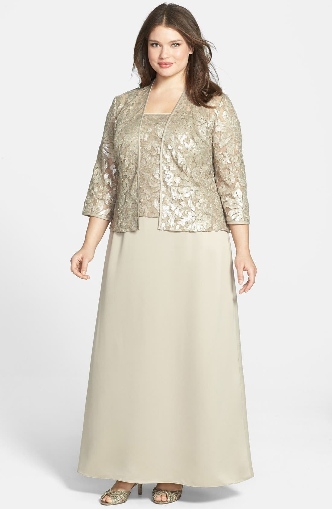Alternate Image 1 Selected - Alex Evenings Embellished Chiffon Gown & Jacket (Plus Size)