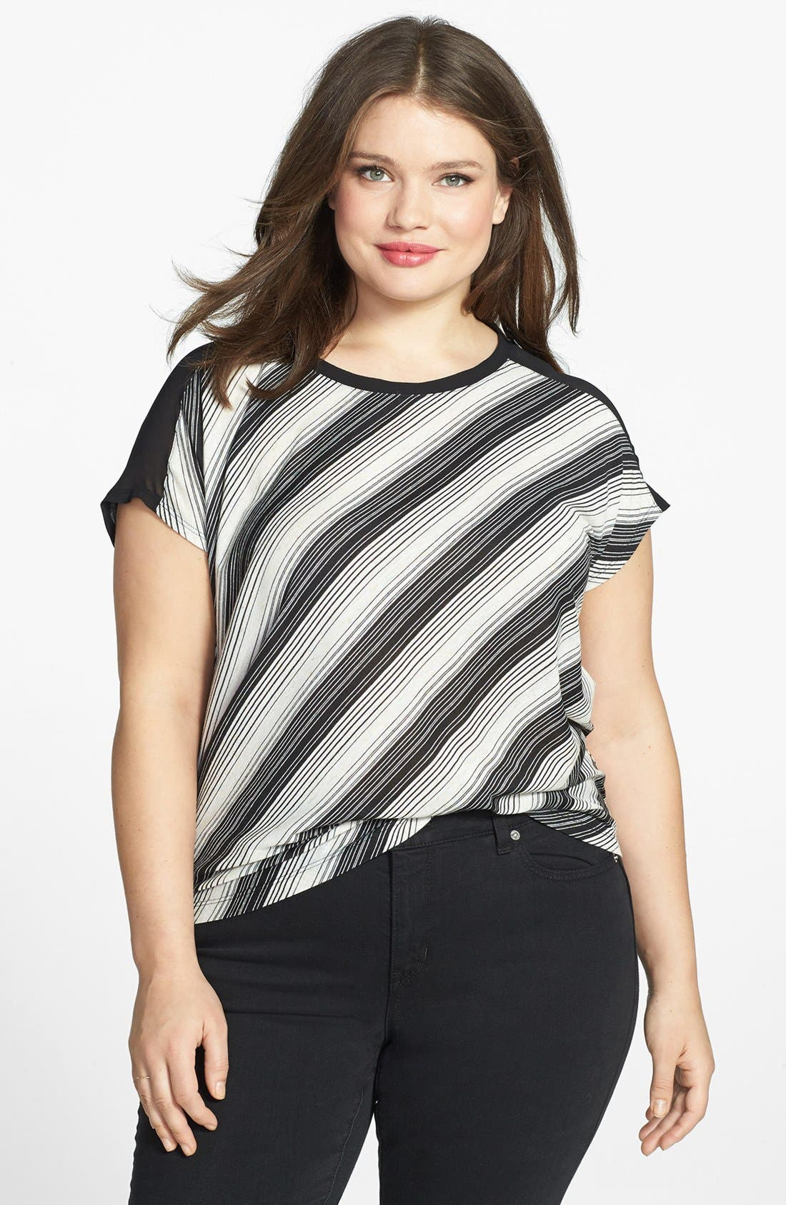 Alternate Image 1 Selected - Two by Vince Camuto Mixed Media Top (Plus Size)