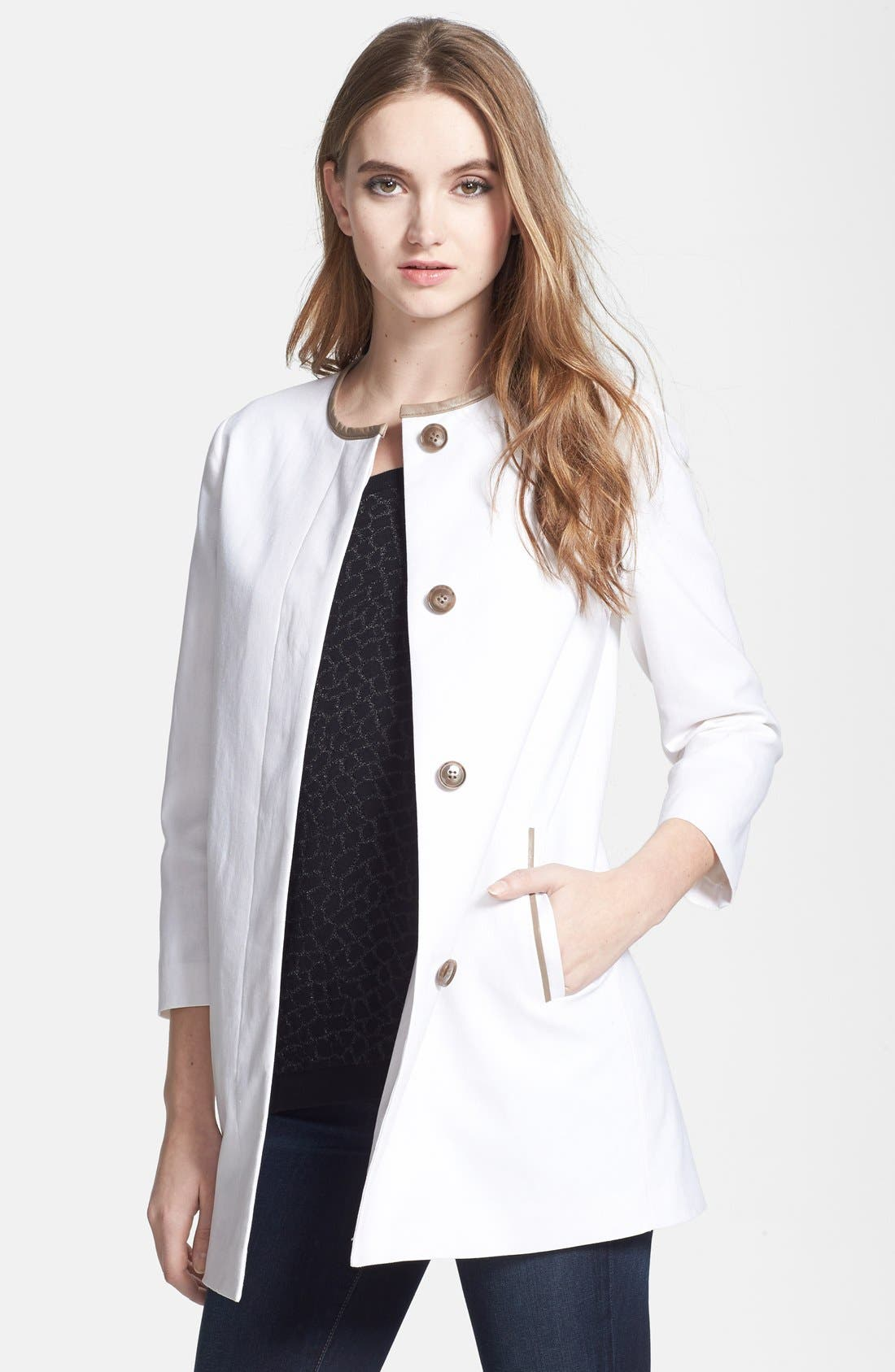 Main Image - Soia & Kyo Leather Trim Collarless Linen & Cotton Jacket