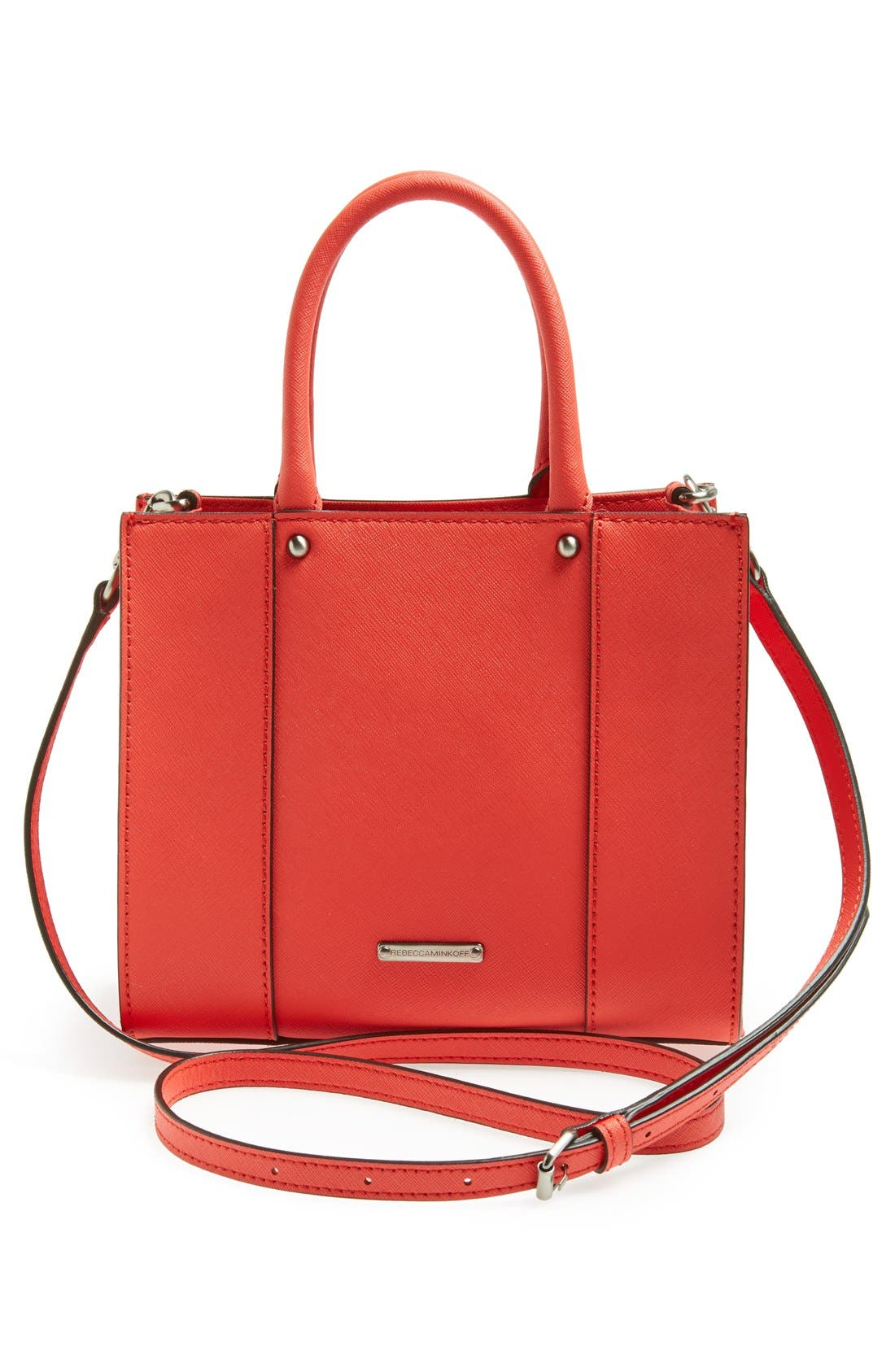 'MAB Mini' Leather Tote,                             Alternate thumbnail 4, color,                             Hot Red