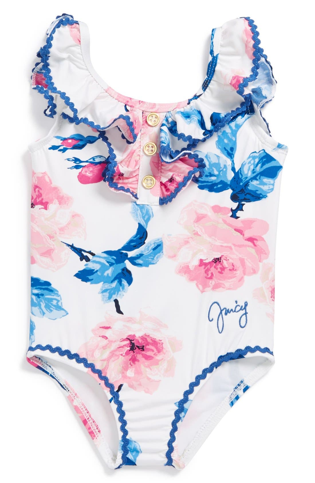 Alternate Image 1 Selected - Juicy Couture 'Rose' One-Piece Swimsuit (Baby Girls)
