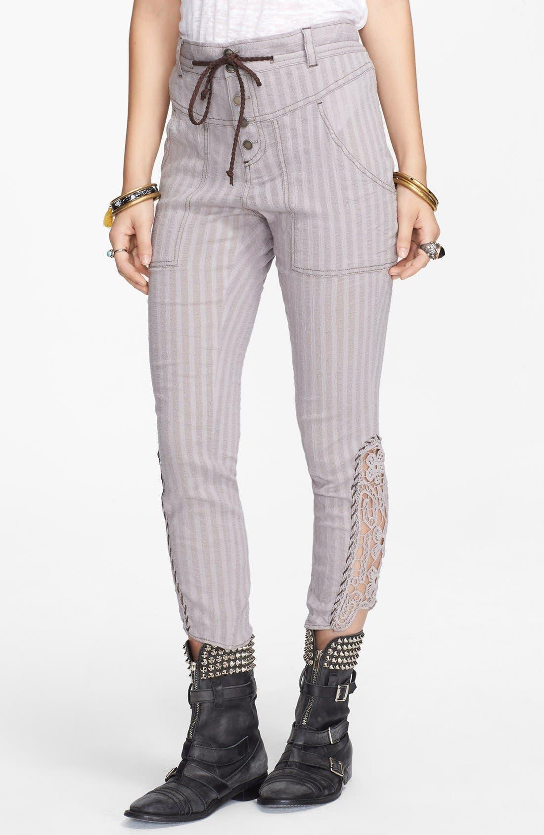 Alternate Image 1 Selected - Free People Crochet Inset Crop Pants
