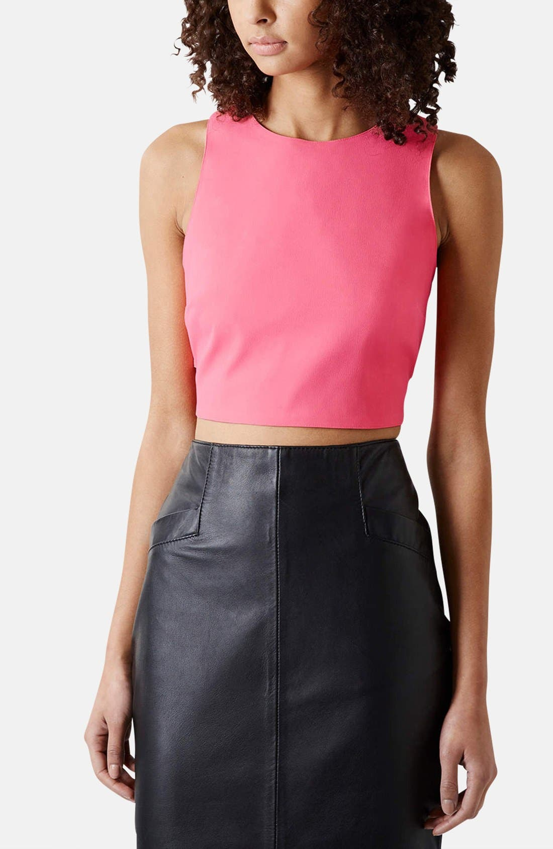 Main Image - Topshop Laser Cut Crop Top