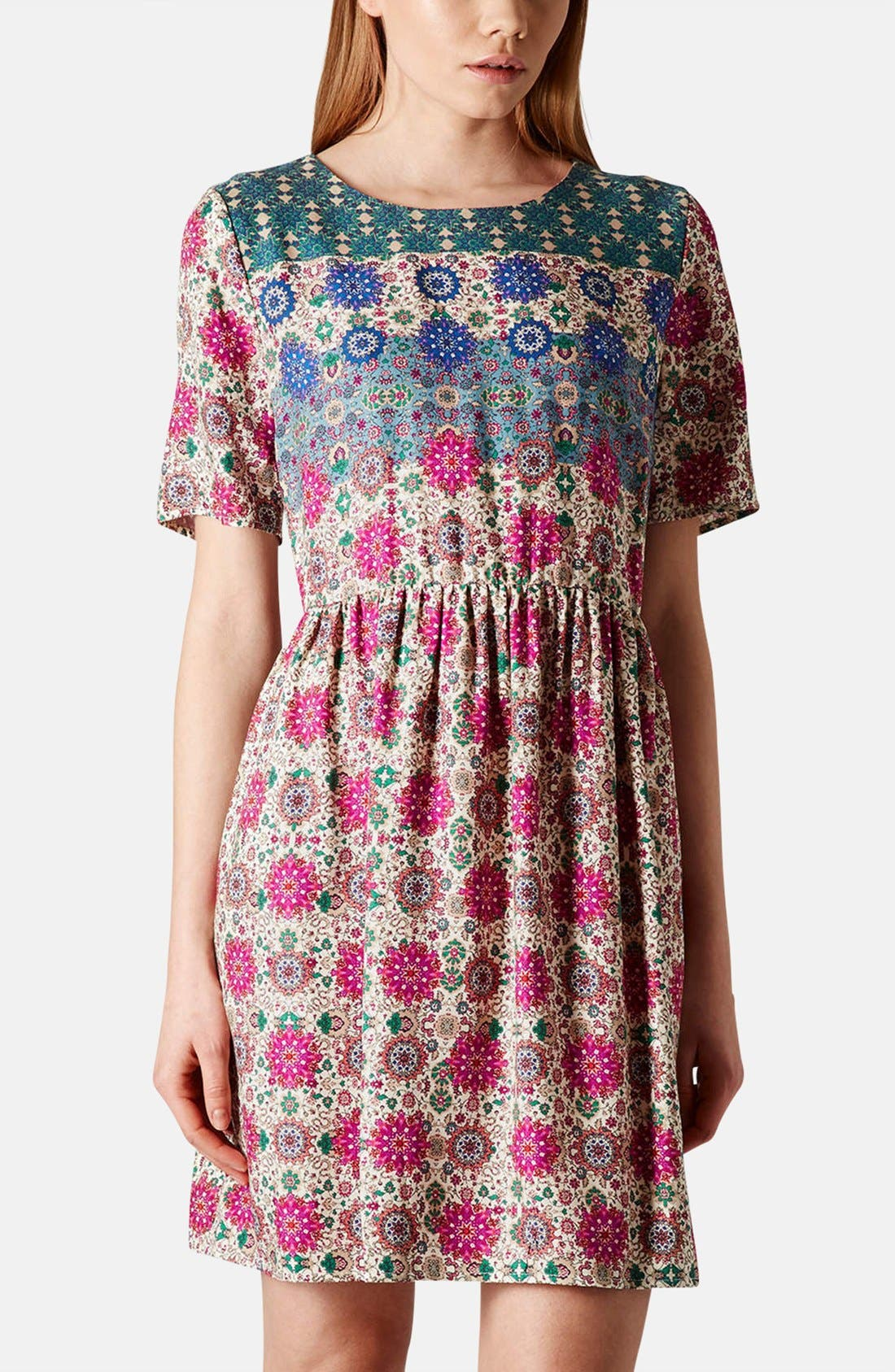 Alternate Image 1 Selected - Topshop 'Folk Border' Print Day Dress