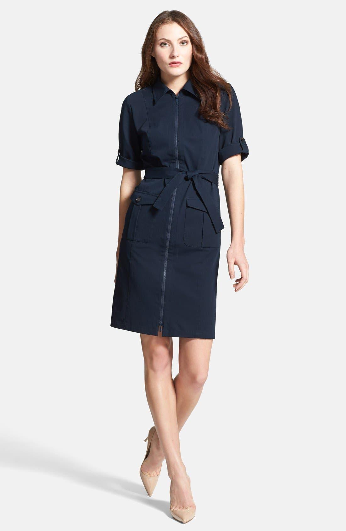Main Image - Lafayette 148 New York Roll Sleeve Polished Twill Shirtdress