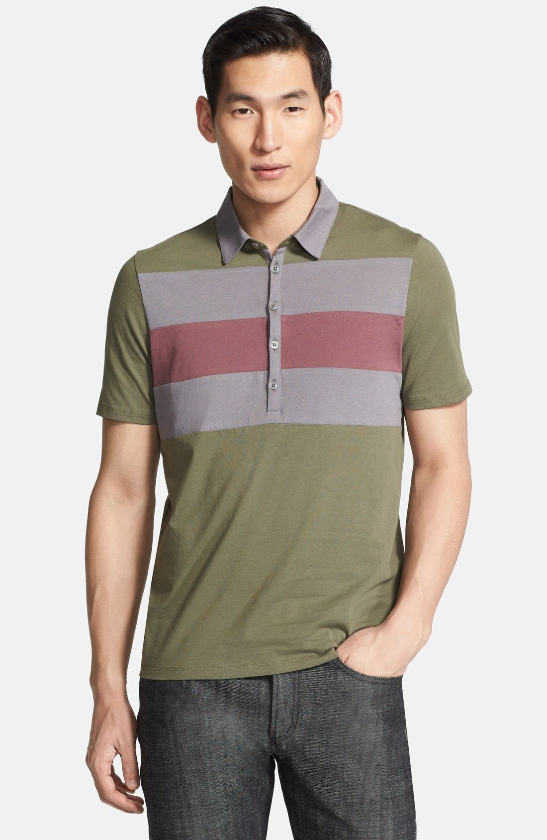 Main Image - Z Zegna Colorblock Chest Jersey Polo