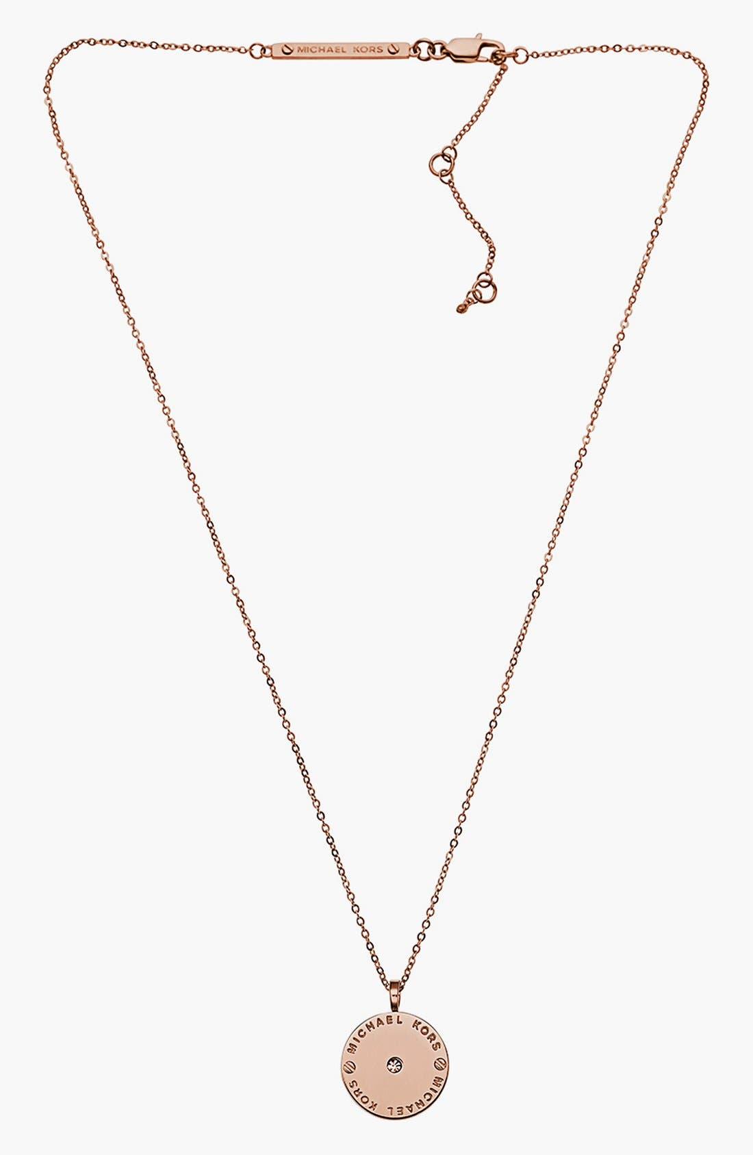 Alternate Image 2  - Michael Kors 'Heritage' Logo Disc Pendant Necklace
