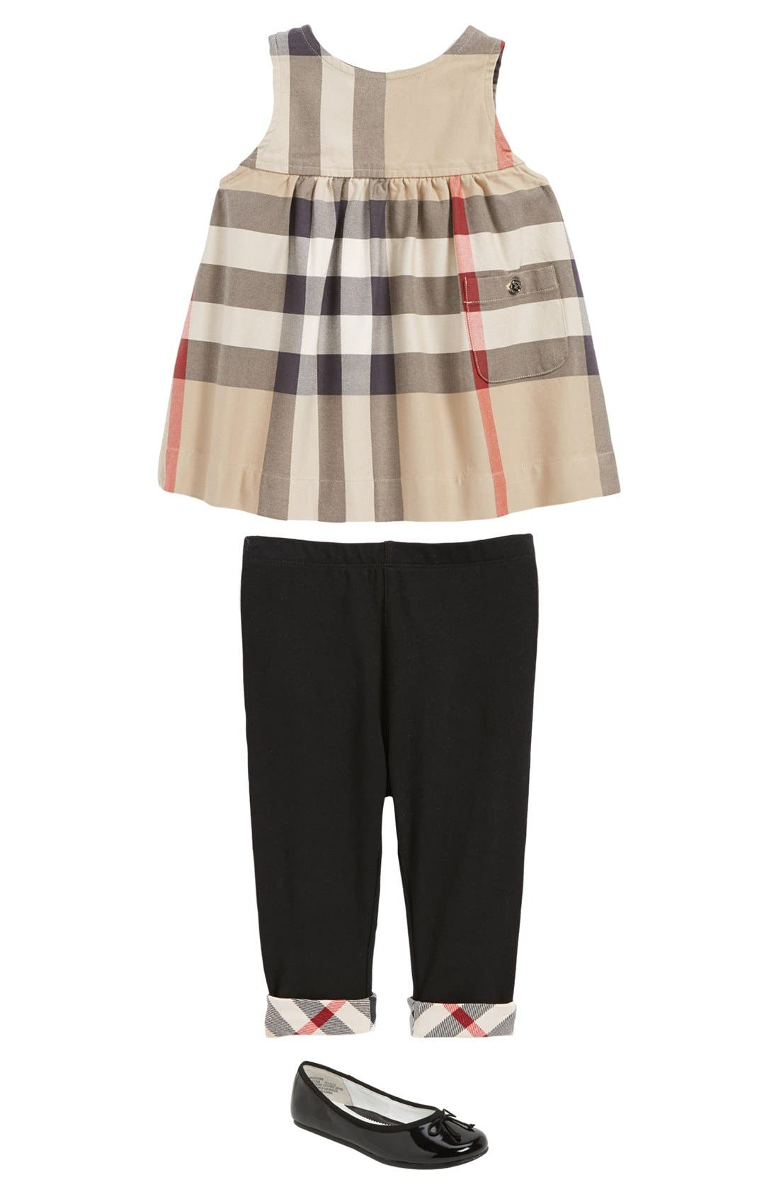 Alternate Image 1 Selected - Burberry Dress, Pants & Nordstrom Flat (Baby Girls)