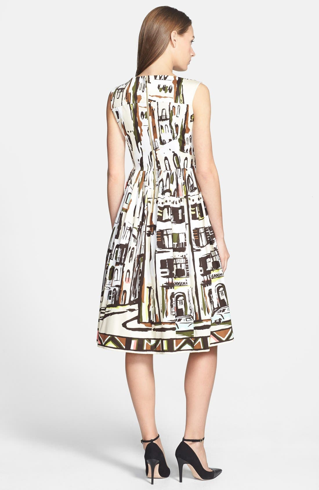 Alternate Image 2  - kate spade new york 'landscape' print stretch cotton fit & flare dress