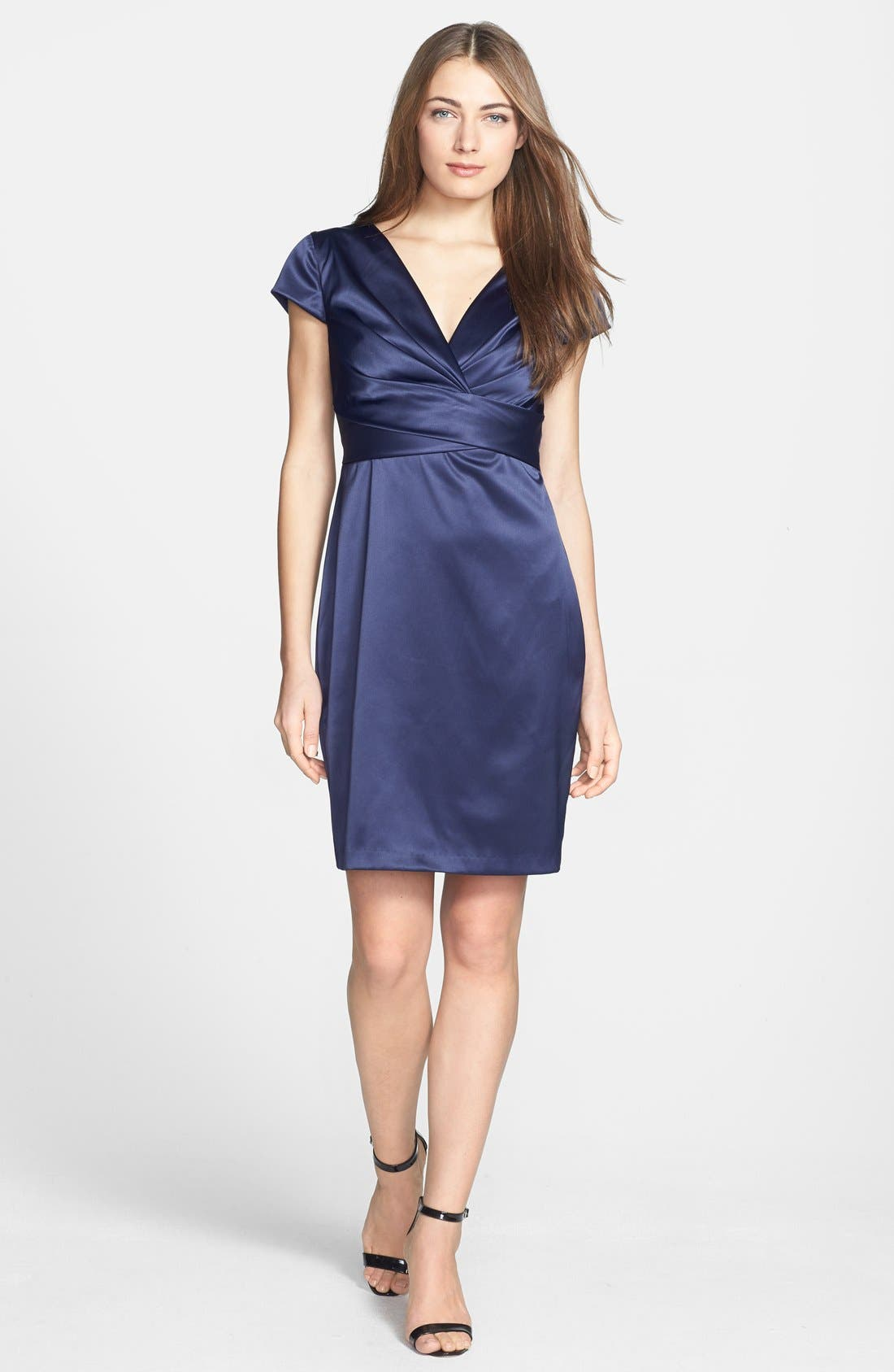 Main Image - Donna Ricco Matte Stretch Satin Dress