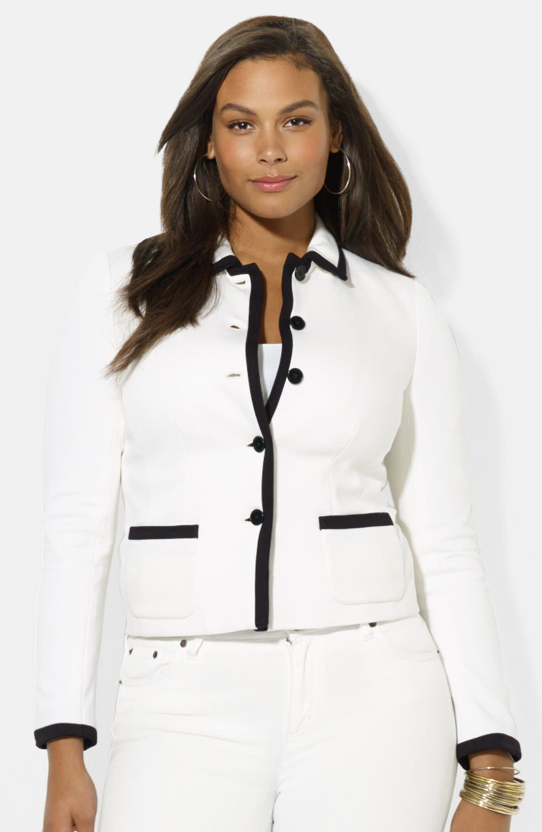 Alternate Image 1 Selected - Lauren Ralph Lauren Button Front Jacket (Plus Size)