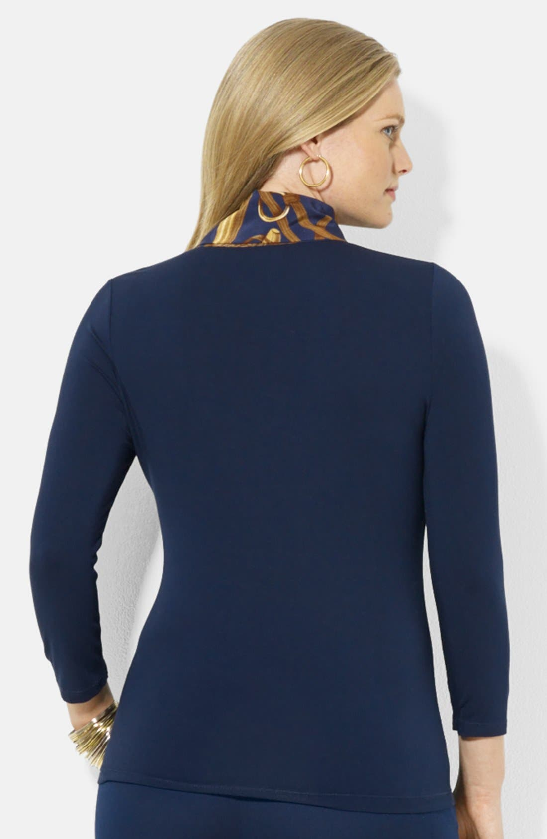 Alternate Image 2  - Lauren Ralph Lauren Tie Neck Jersey Tee (Plus Size)