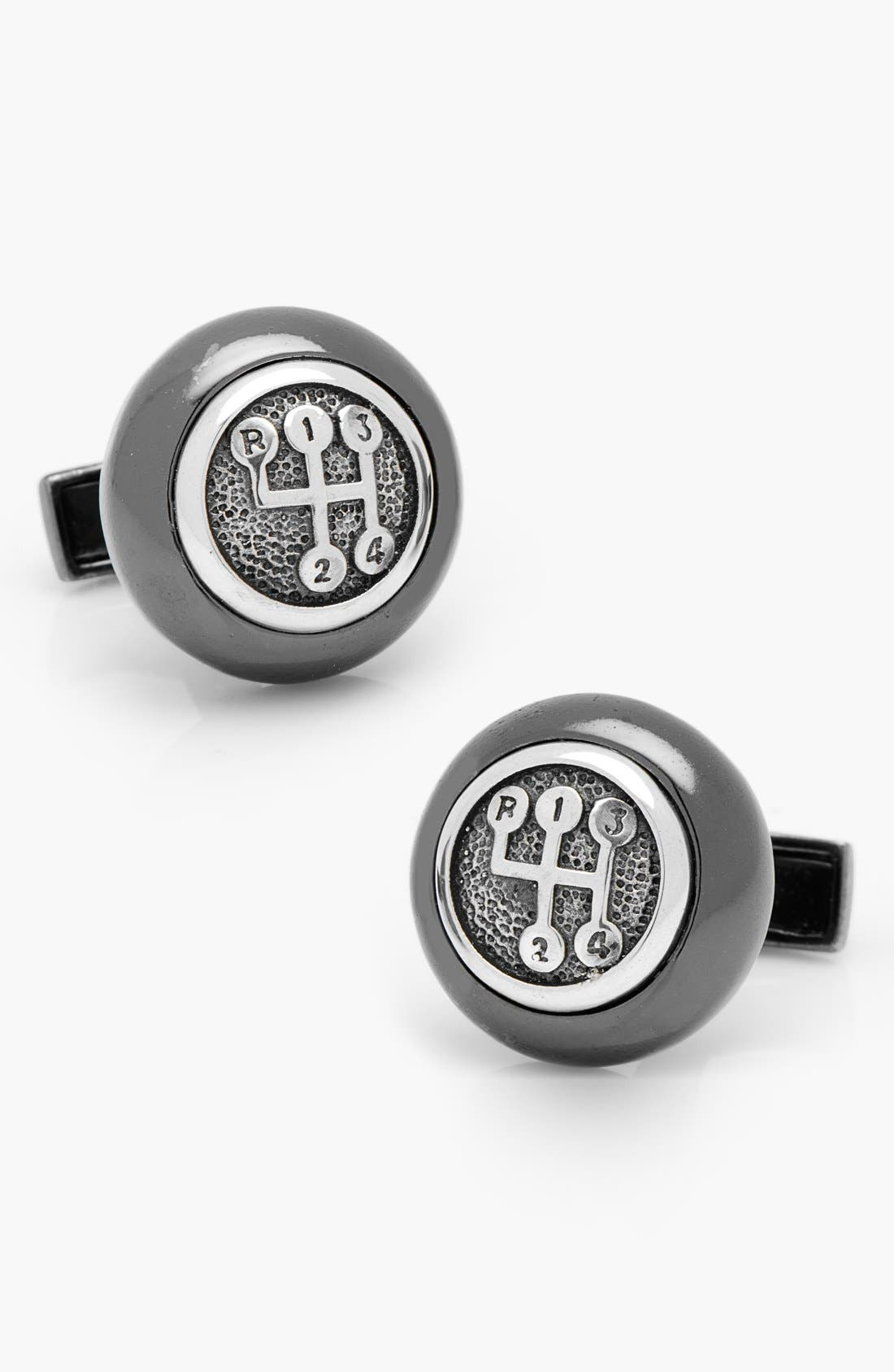 Gear Shifter Cuff Links,                         Main,                         color, Gunmetal