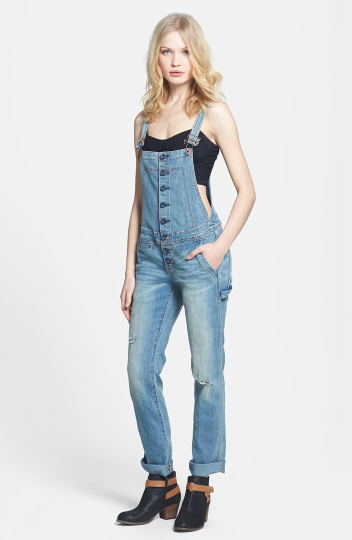 Free People Button Front Denim Overalls Nordstrom