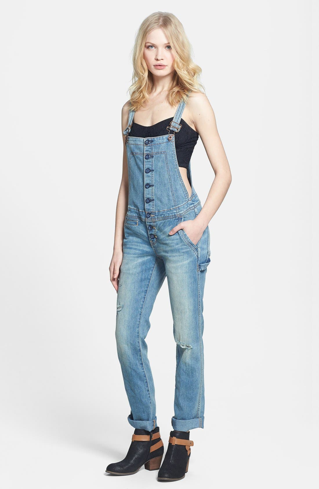 free people button front denim overalls