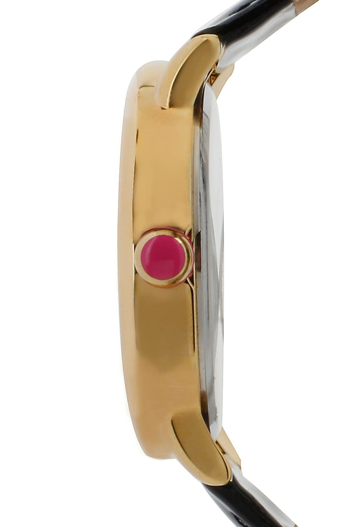 Alternate Image 3  - Betsey Johnson Skull Dial Leather Strap Watch, 41mm