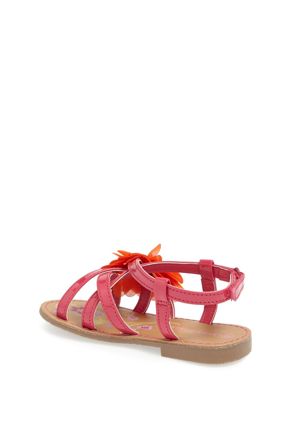 Alternate Image 2  - Laura Ashley Chiffon Flower Sandal (Walker & Toddler)