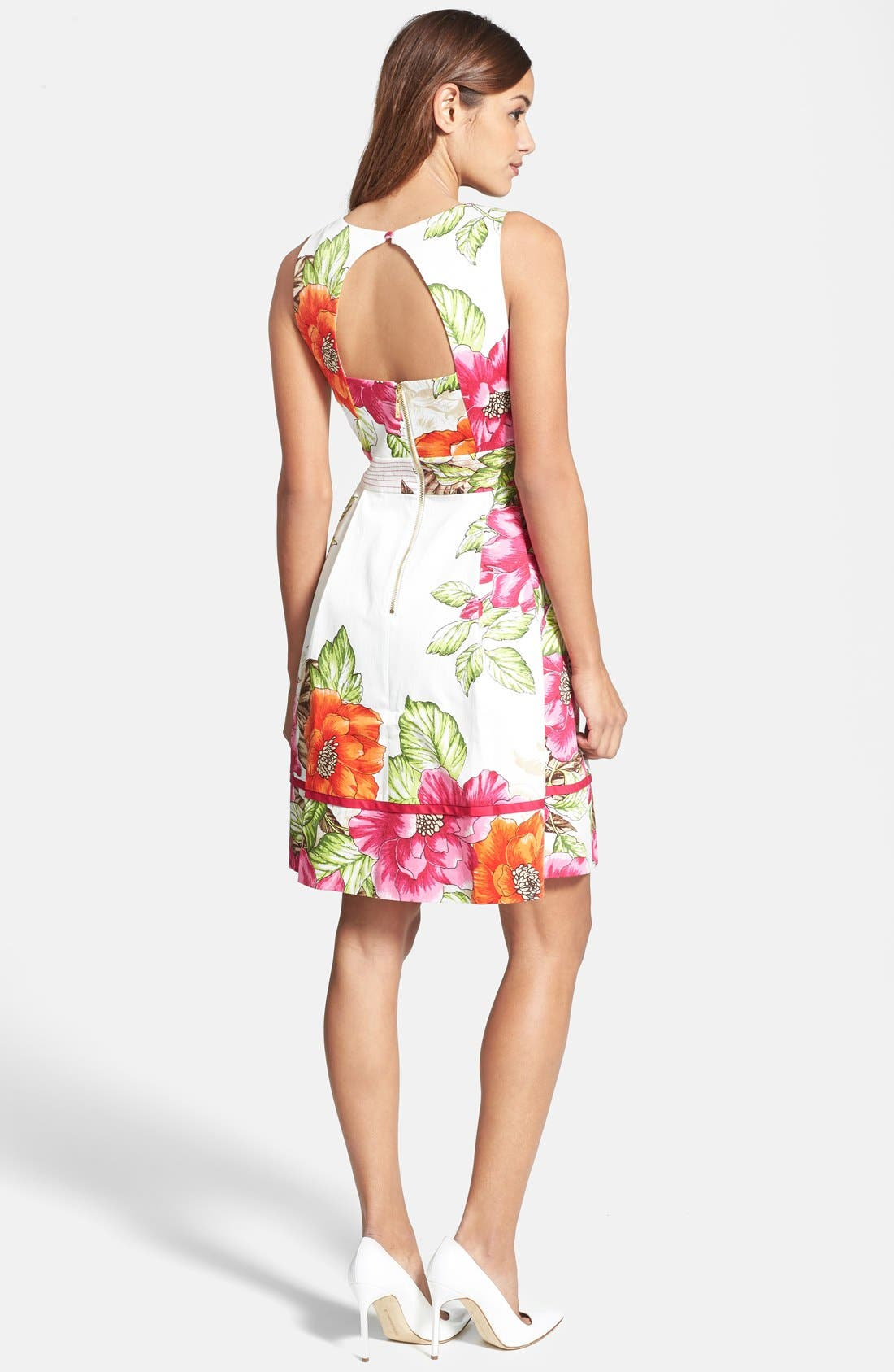 Alternate Image 2  - Eliza J Floral Print Cotton Sateen Fit & Flare Dress