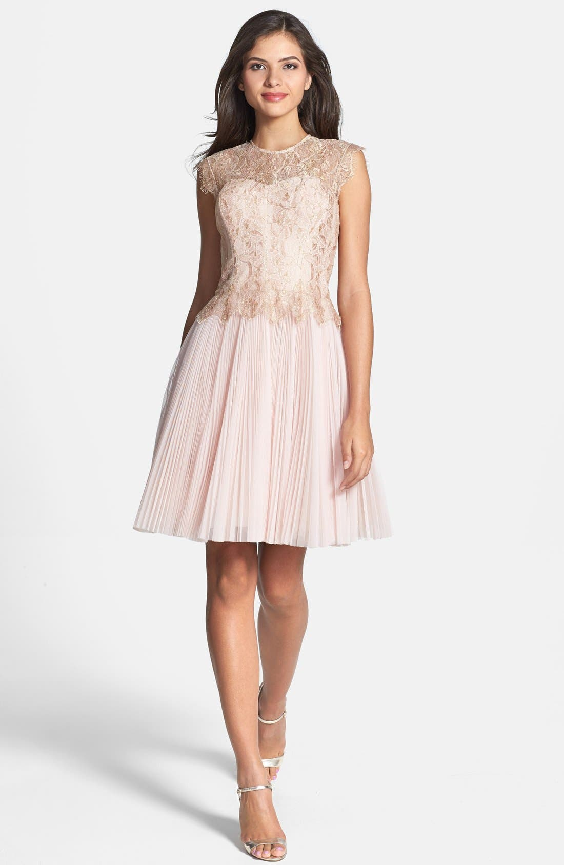 'Remma' Metallic Lace Overlay Fit & Flare Dress,                             Alternate thumbnail 3, color,                             Nude Pink