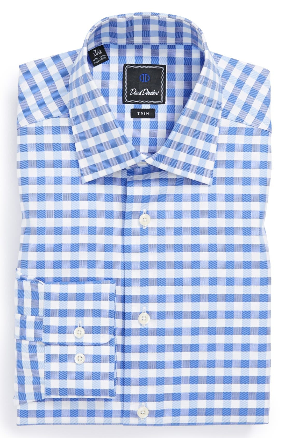 Main Image - David Donahue Trim Fit Gingham Dress Shirt