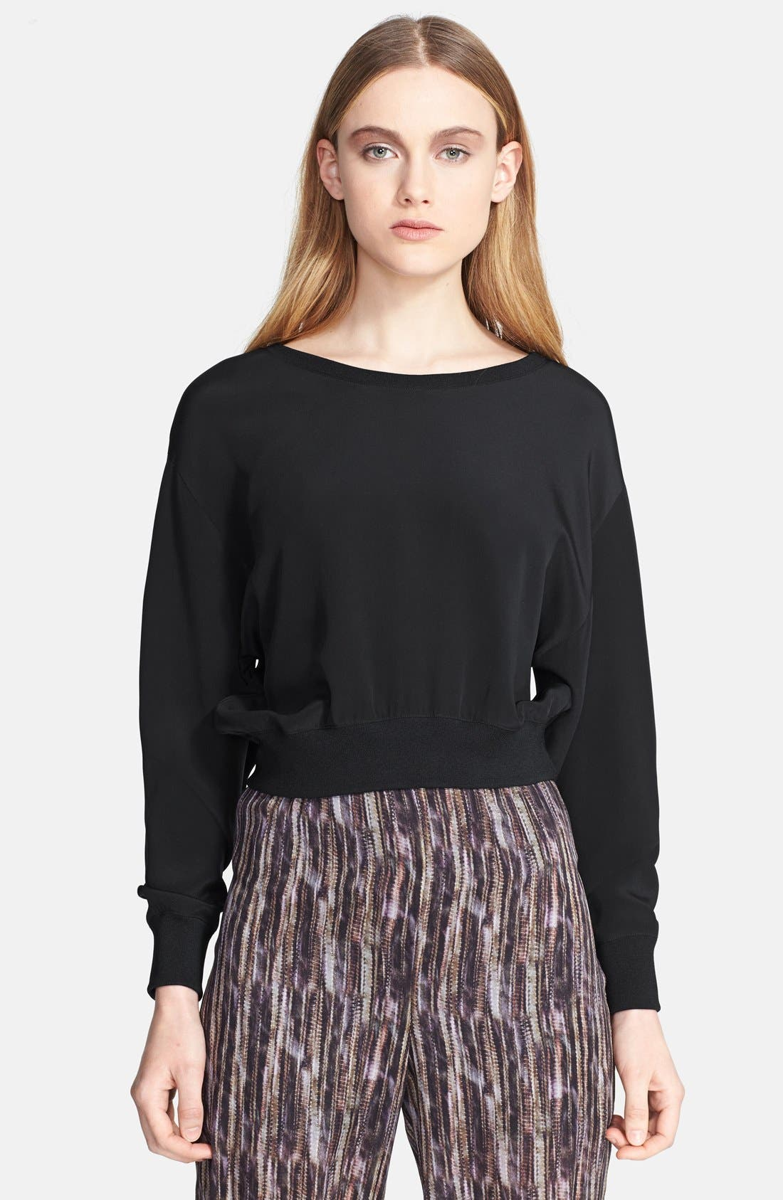 Main Image - Theyskens' Theory 'Bason' Silk Crop Sweater