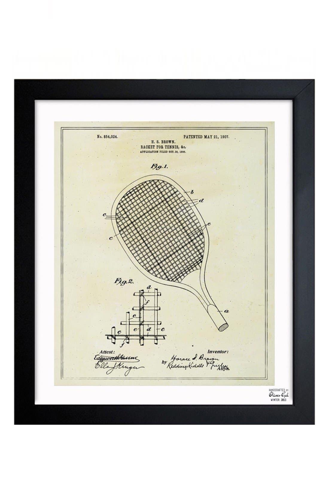'Tennis Racket Blueprint' Framed Print,                         Main,                         color, Beige/ Khaki