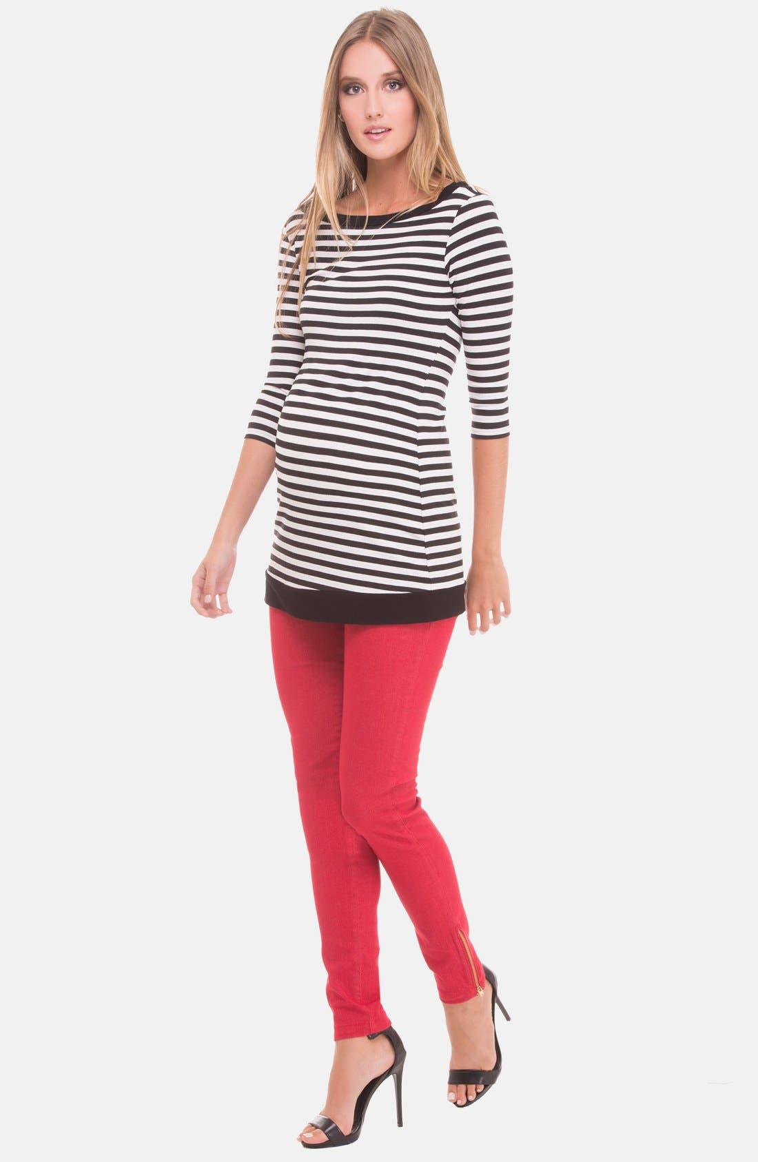 Alternate Image 1 Selected - Olian Stripe Boatneck Maternity Top