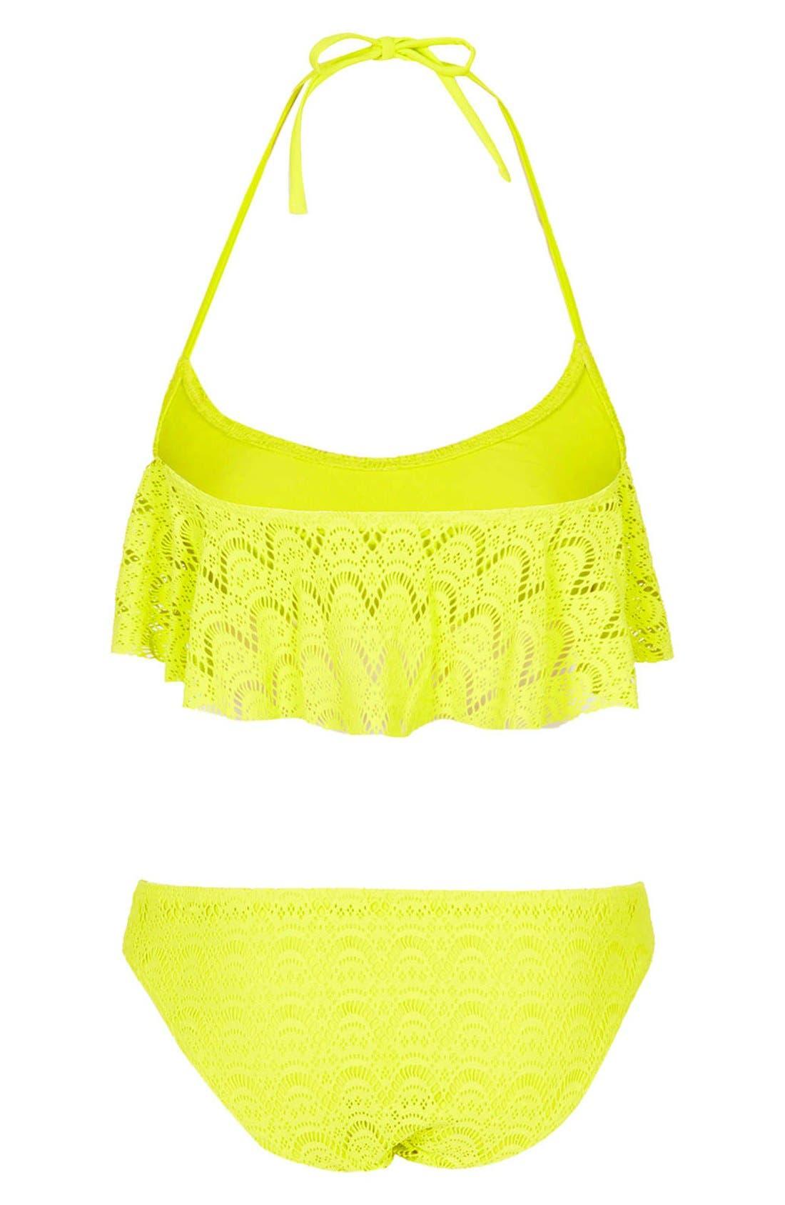 Alternate Image 2  - Topshop Crochet Ruffle Panel Bikini